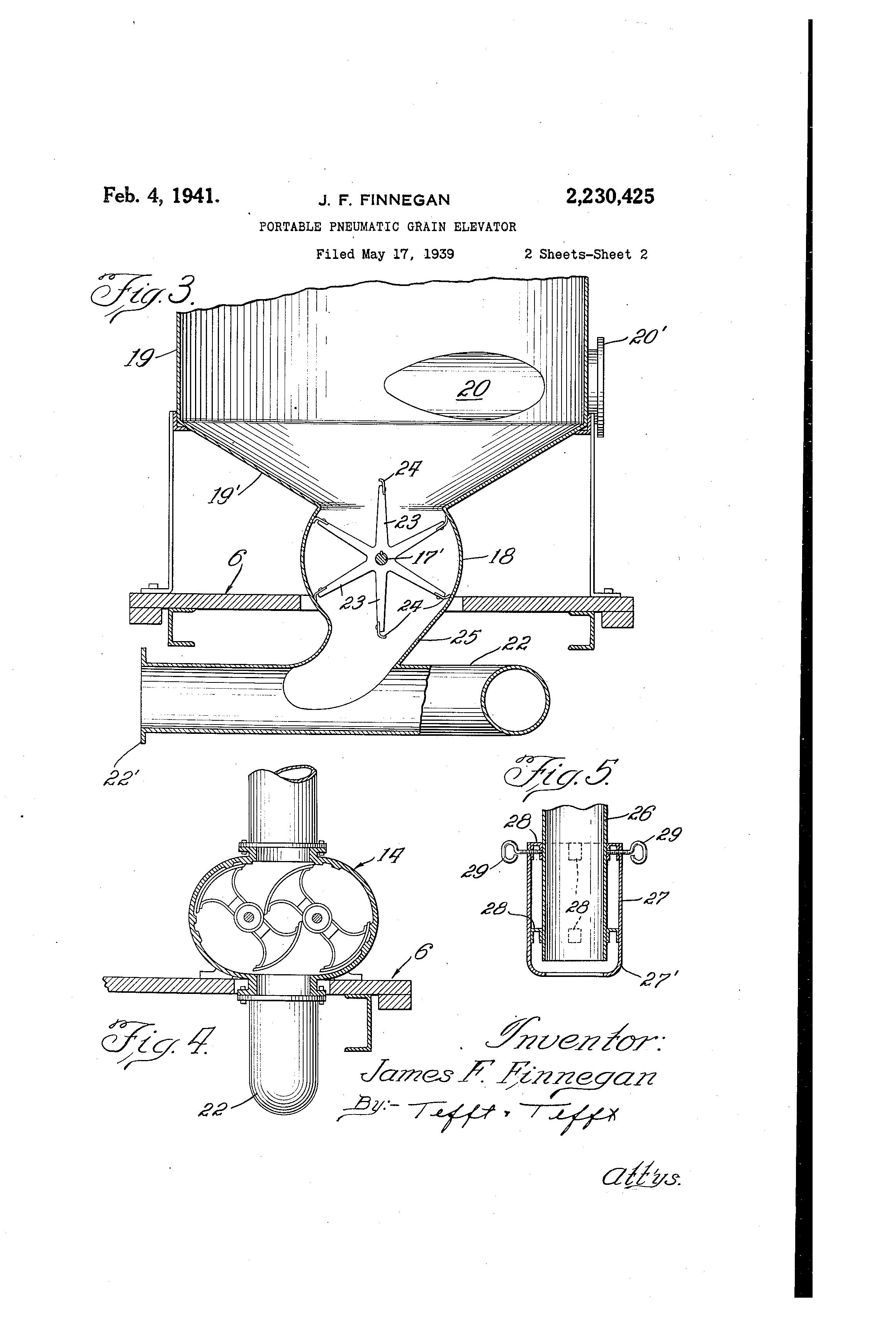 Brevet US2230425 - Portable pneumatic grain elevator