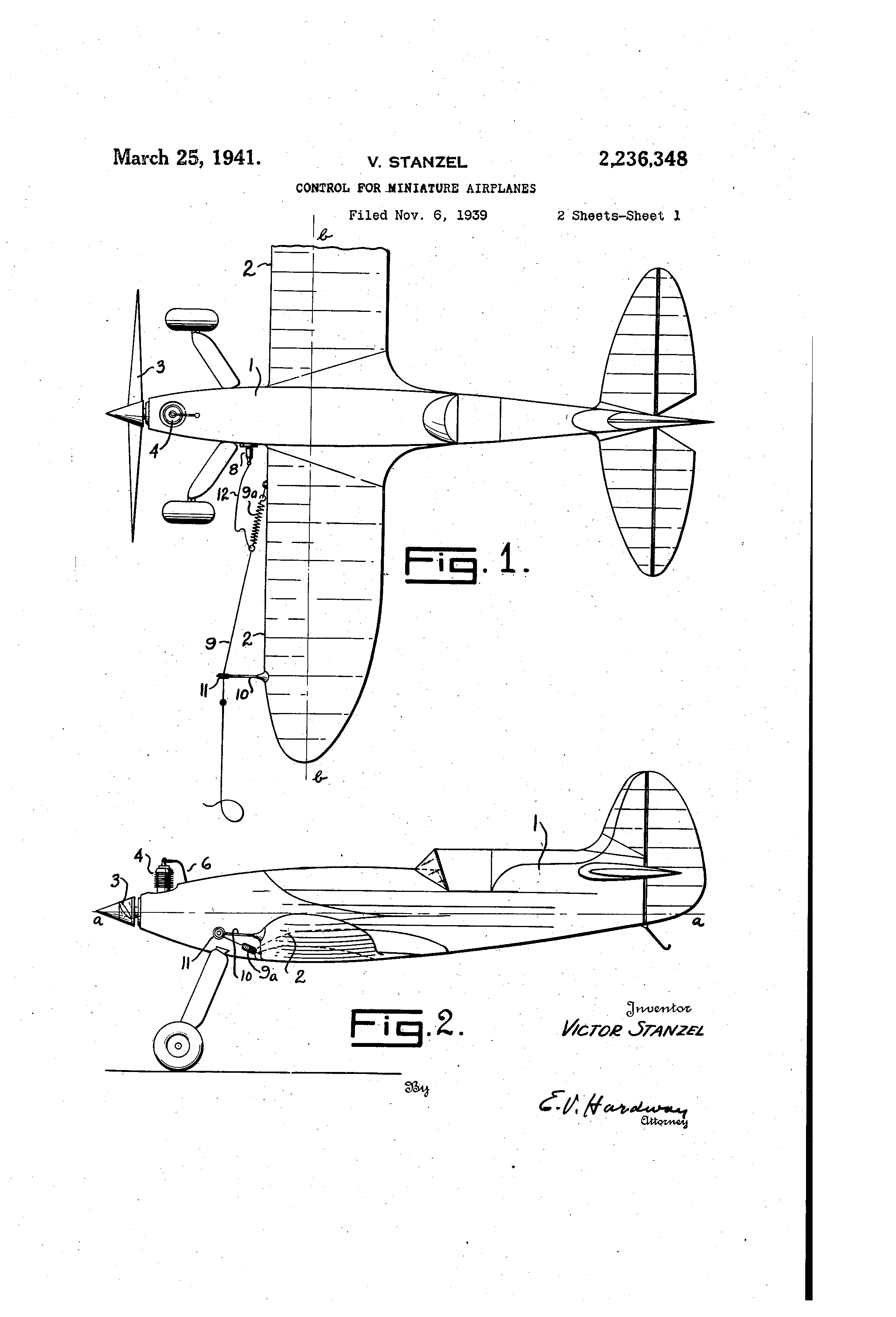 Victor Stanzel patent for the Shark model airplane