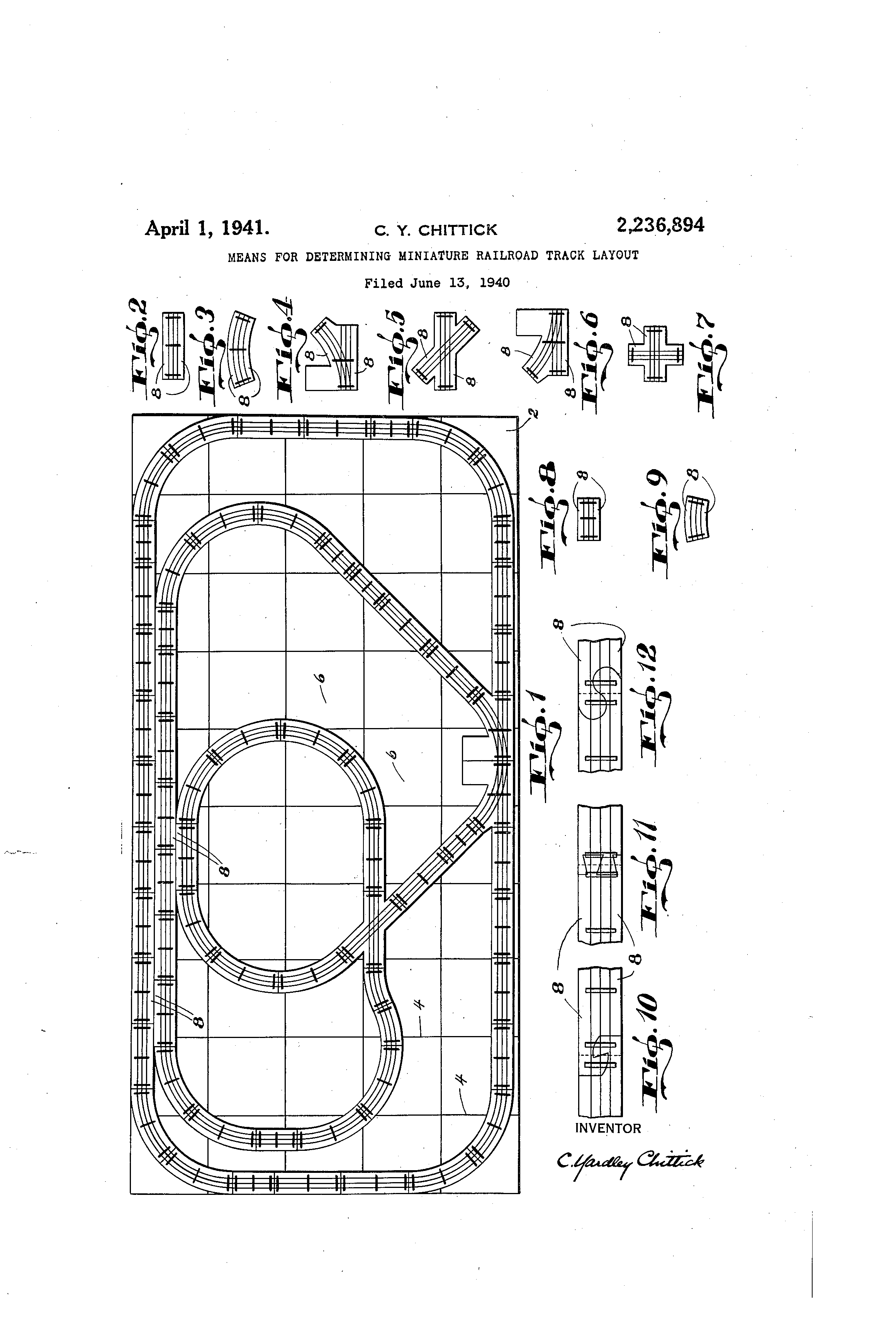 Patent US2236894 - Means for determining miniature railroad