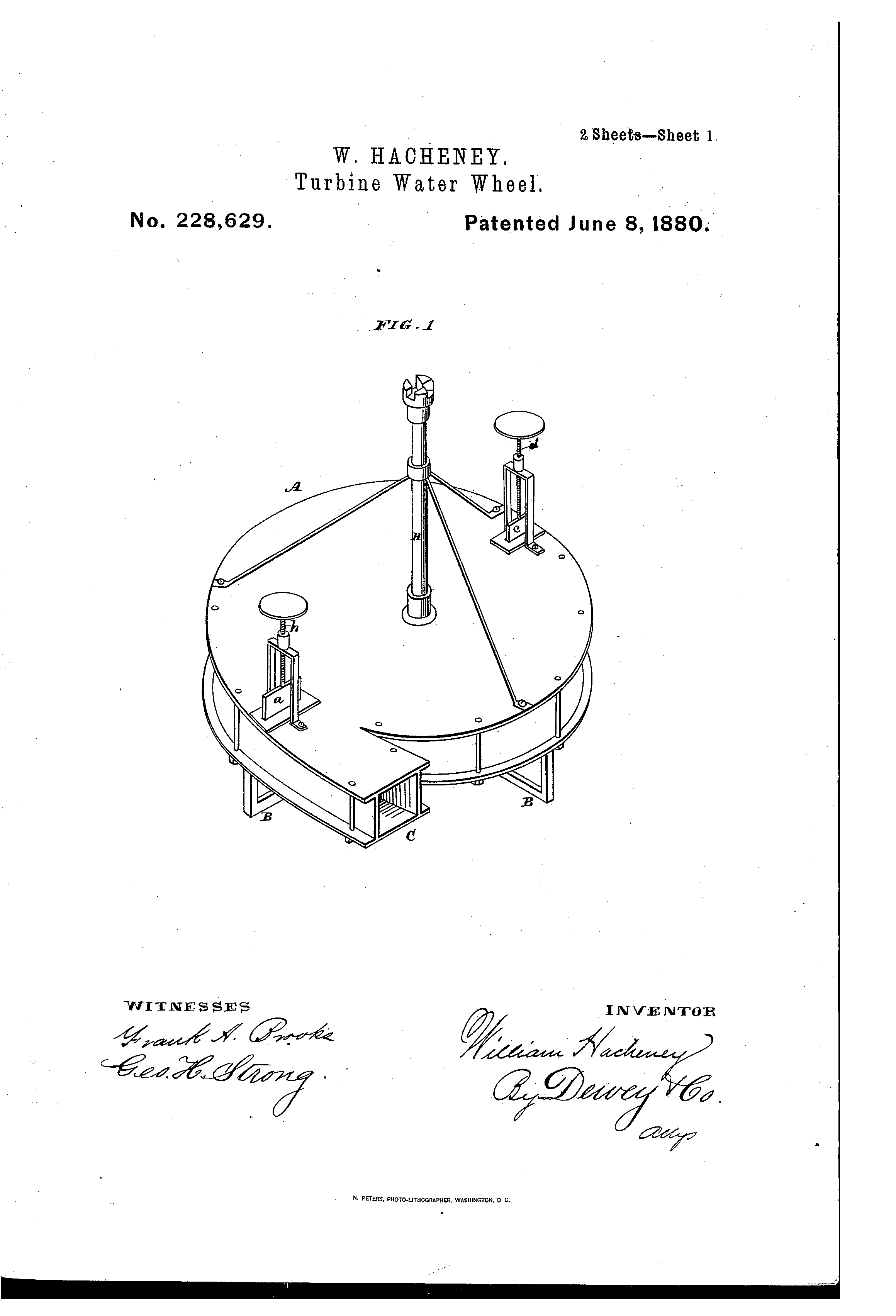 patent us228629 turbine water wheel patents Water Main Turbine patent drawing