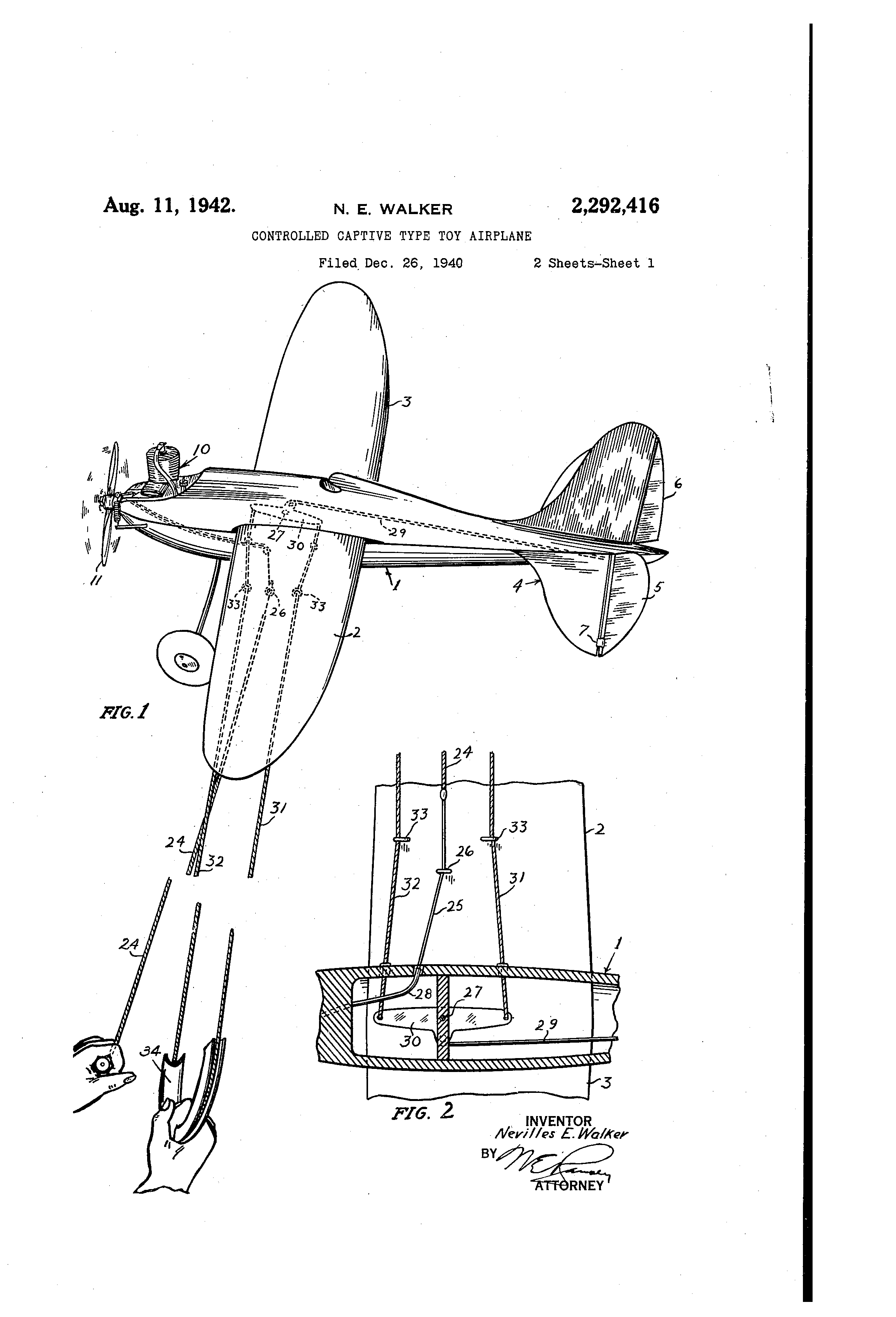 Walker's patent for the Firball and the Control line system.