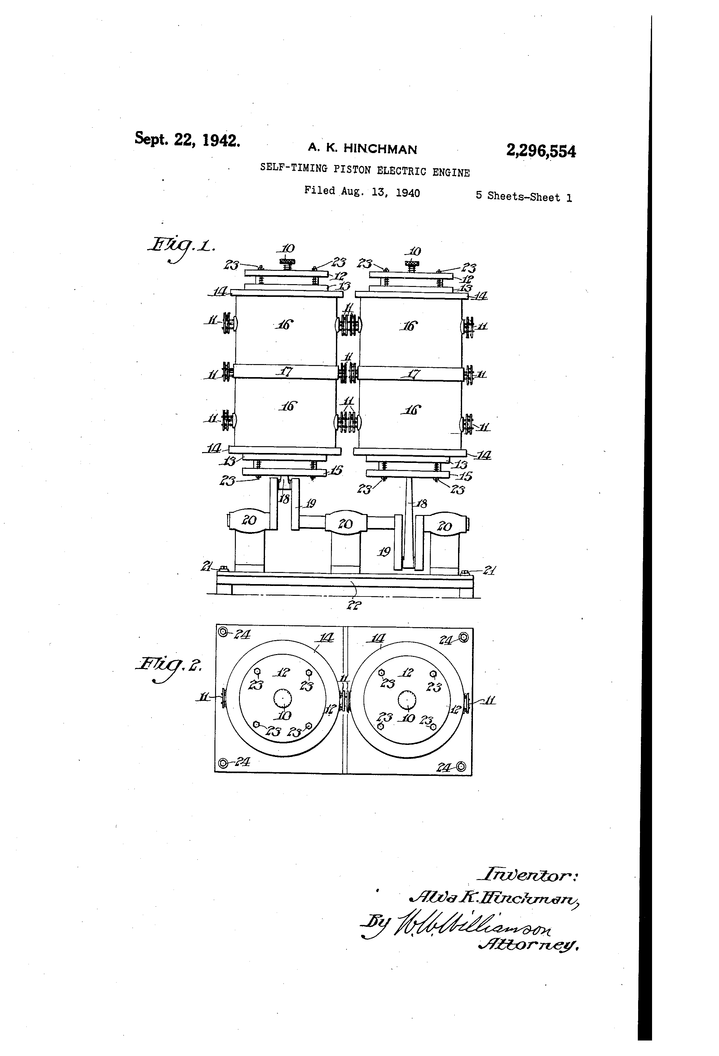 Patent US2296554 - Self-timing piston electric engine - Google Patents