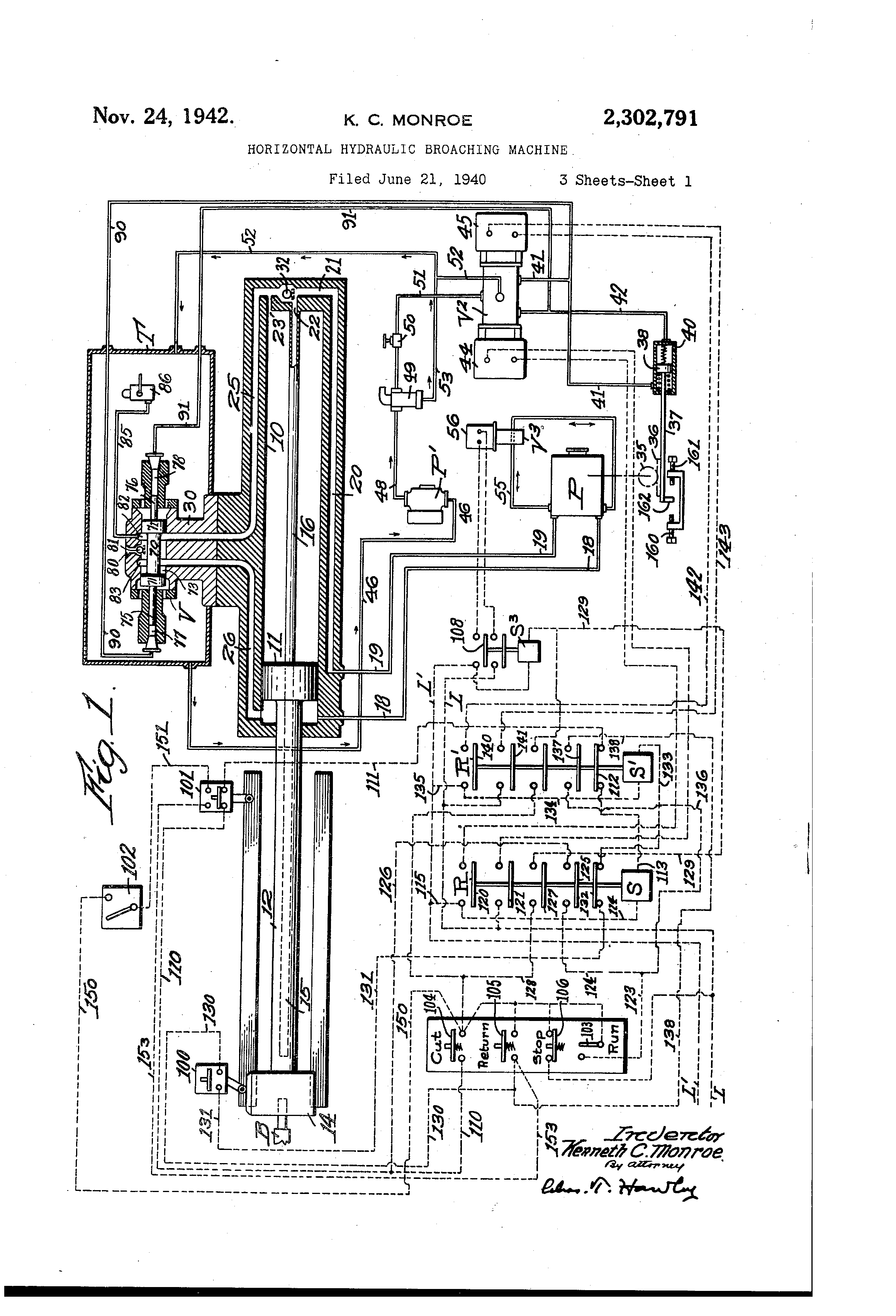 patent us2302791 horizontal hydraulic broaching machine google