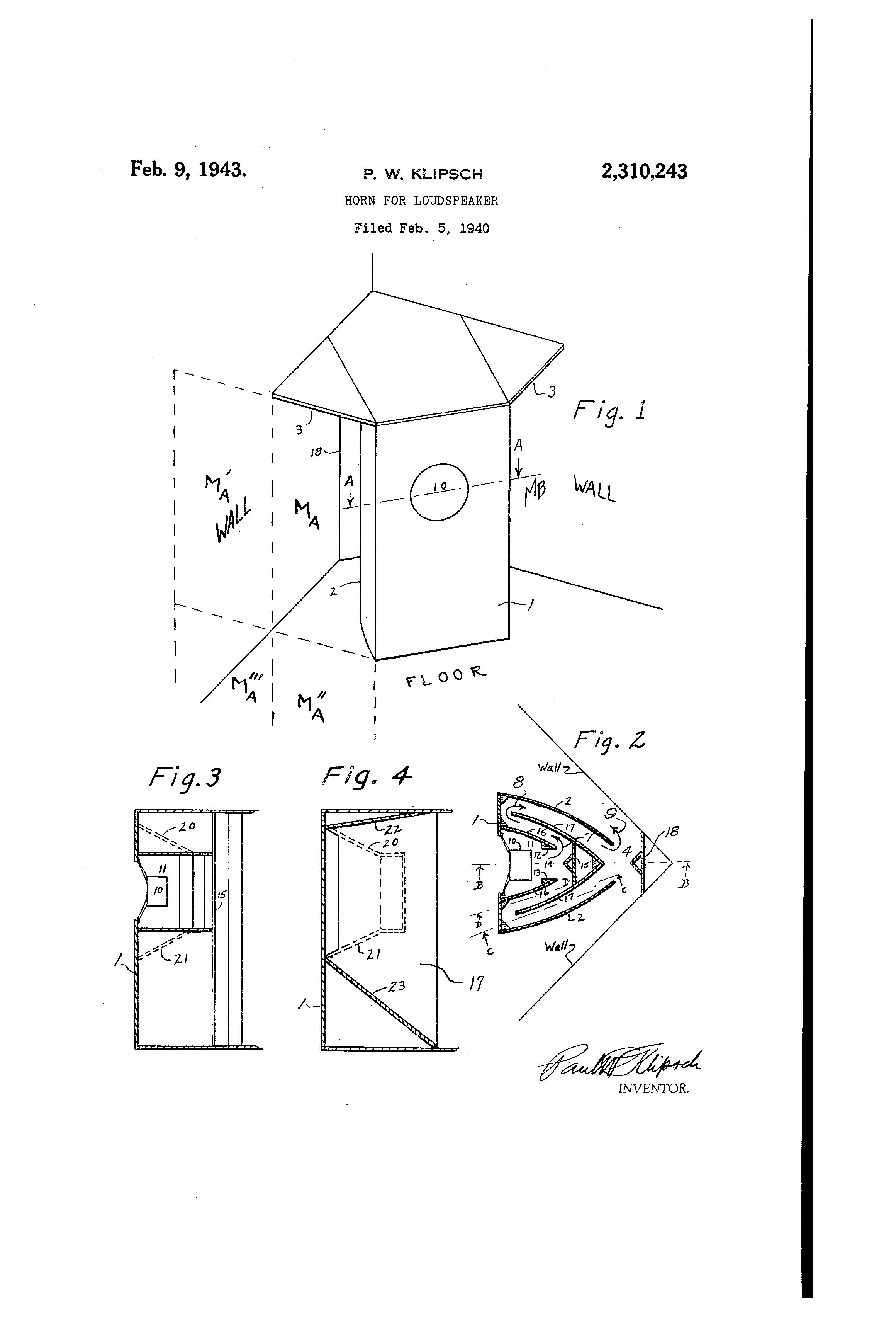patent us2310243 - horn for loud-speaker