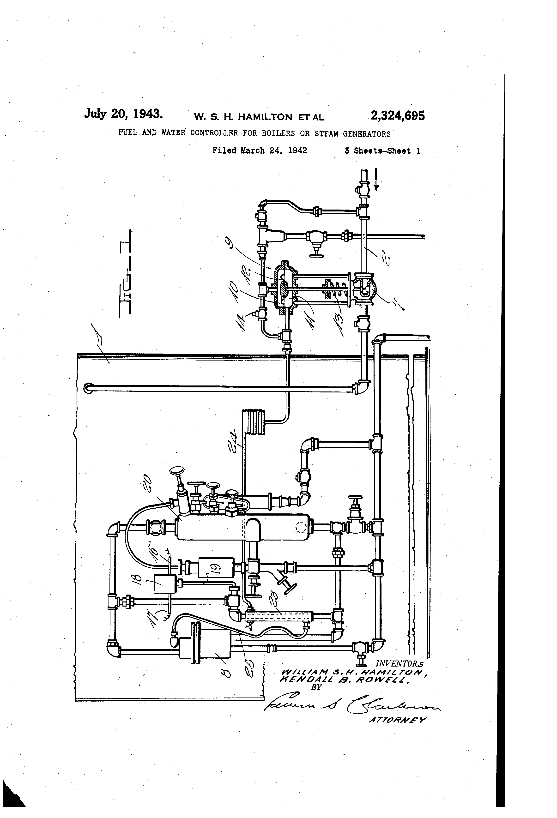 Patent US Fuel and water controller for boilers or steam