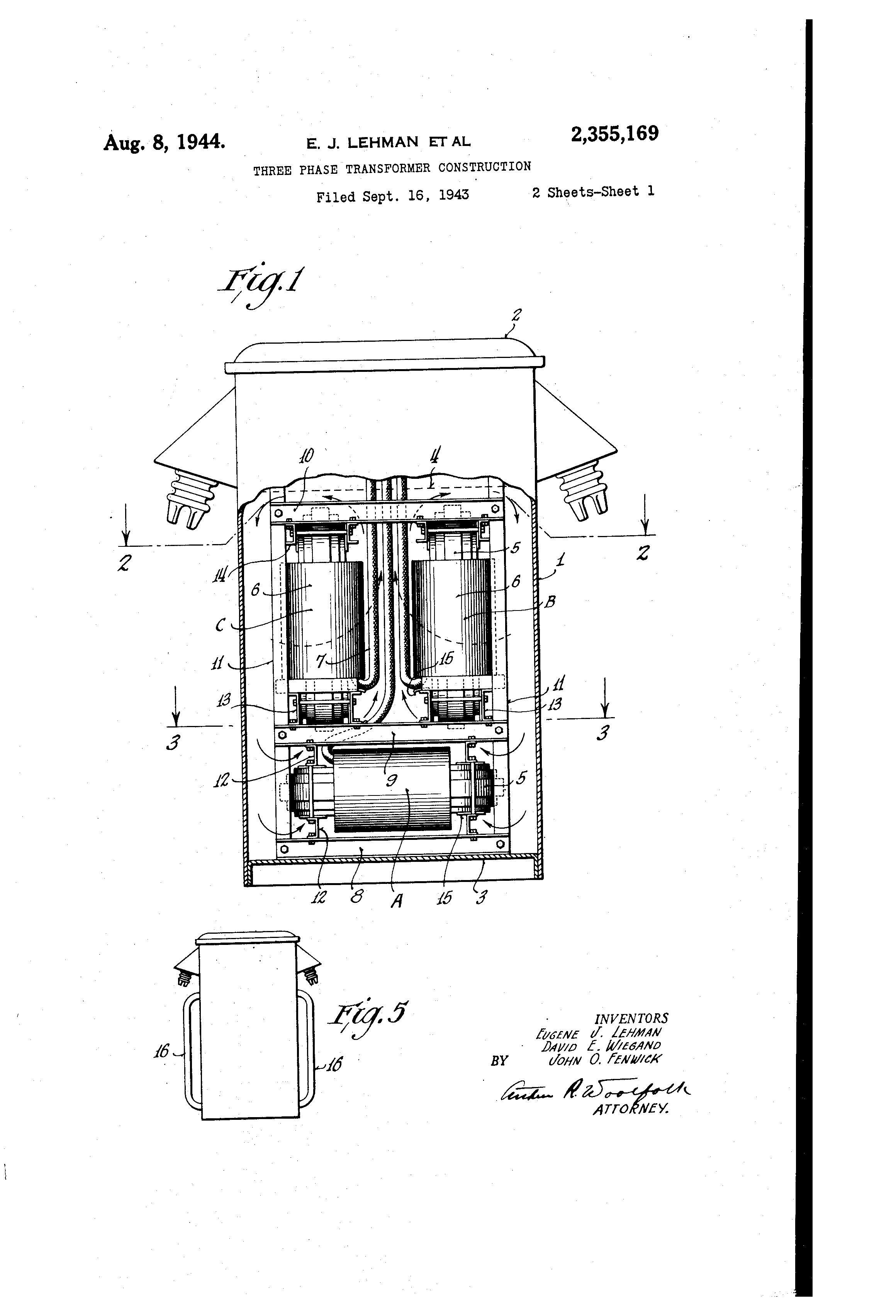 Patent US2355169 - Three-phase transformer construction