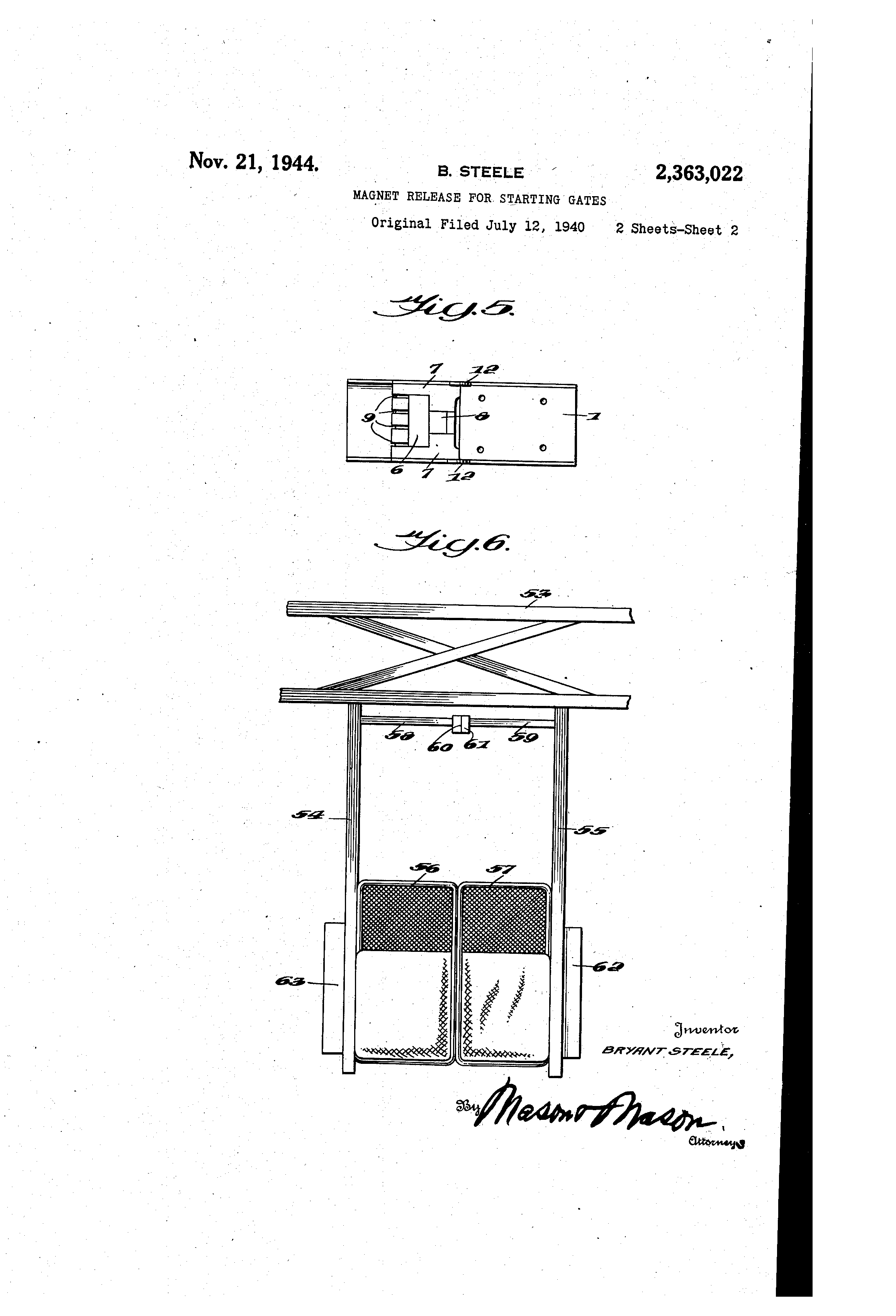 Patent US2363022 - Magnet release for starting gates
