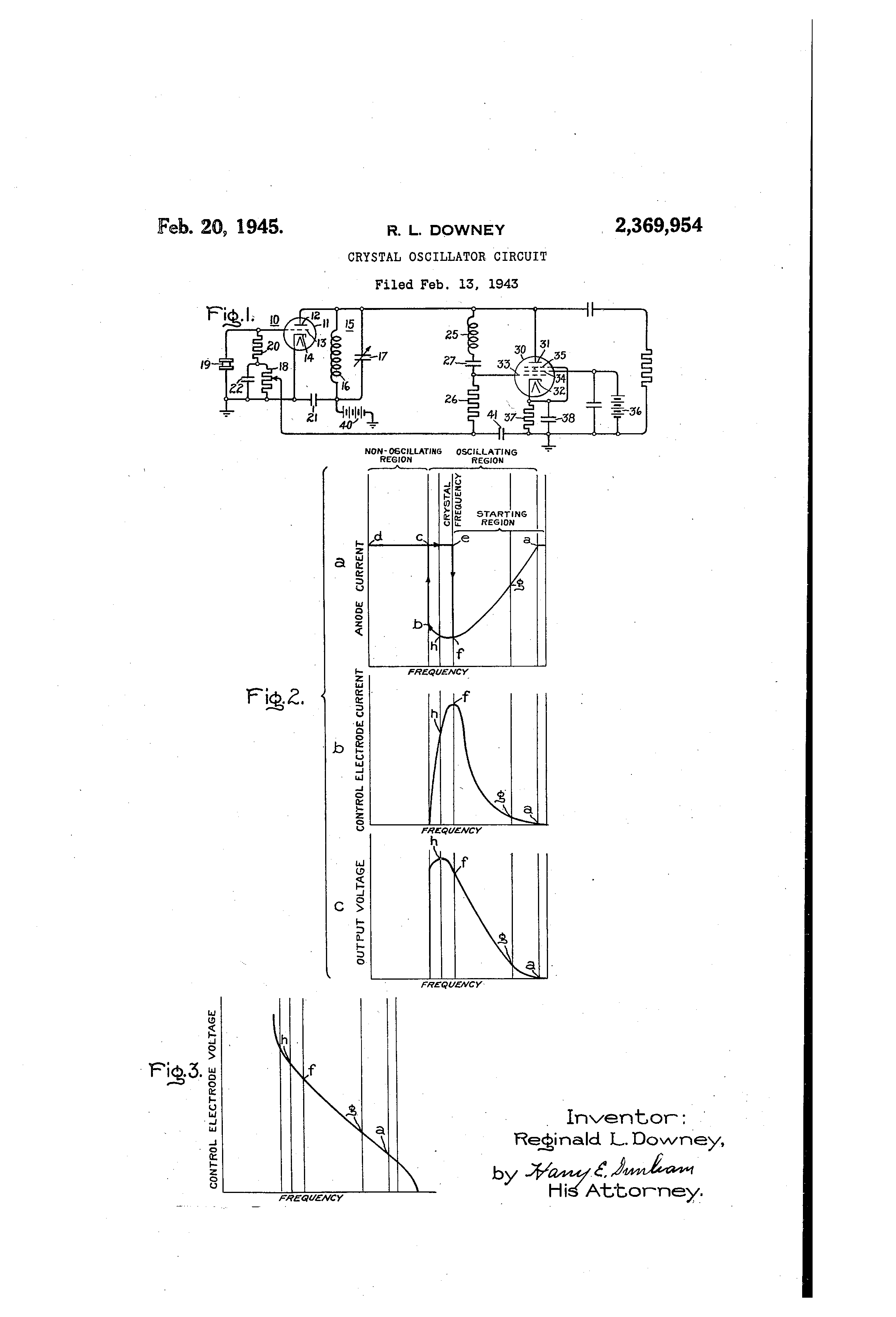 Crystal Oscillator Circuit Schematic Diagram Brevet Us2369954 Google Brevets Patent Drawing