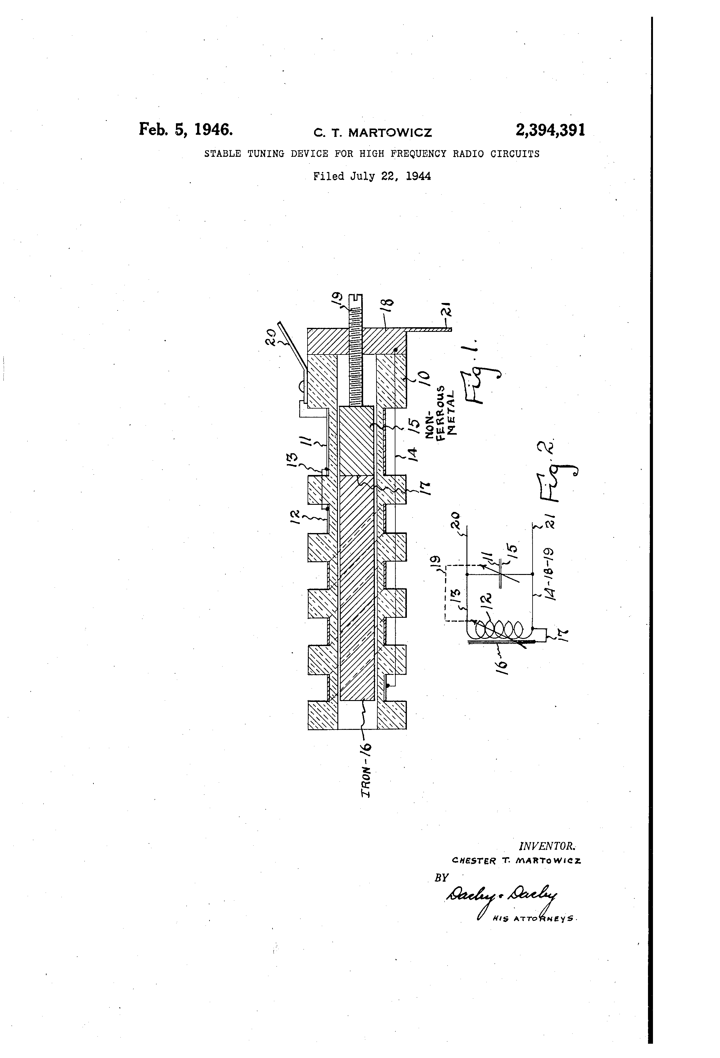 Patent US2394391 - Stable tuning device for high-frequency radio