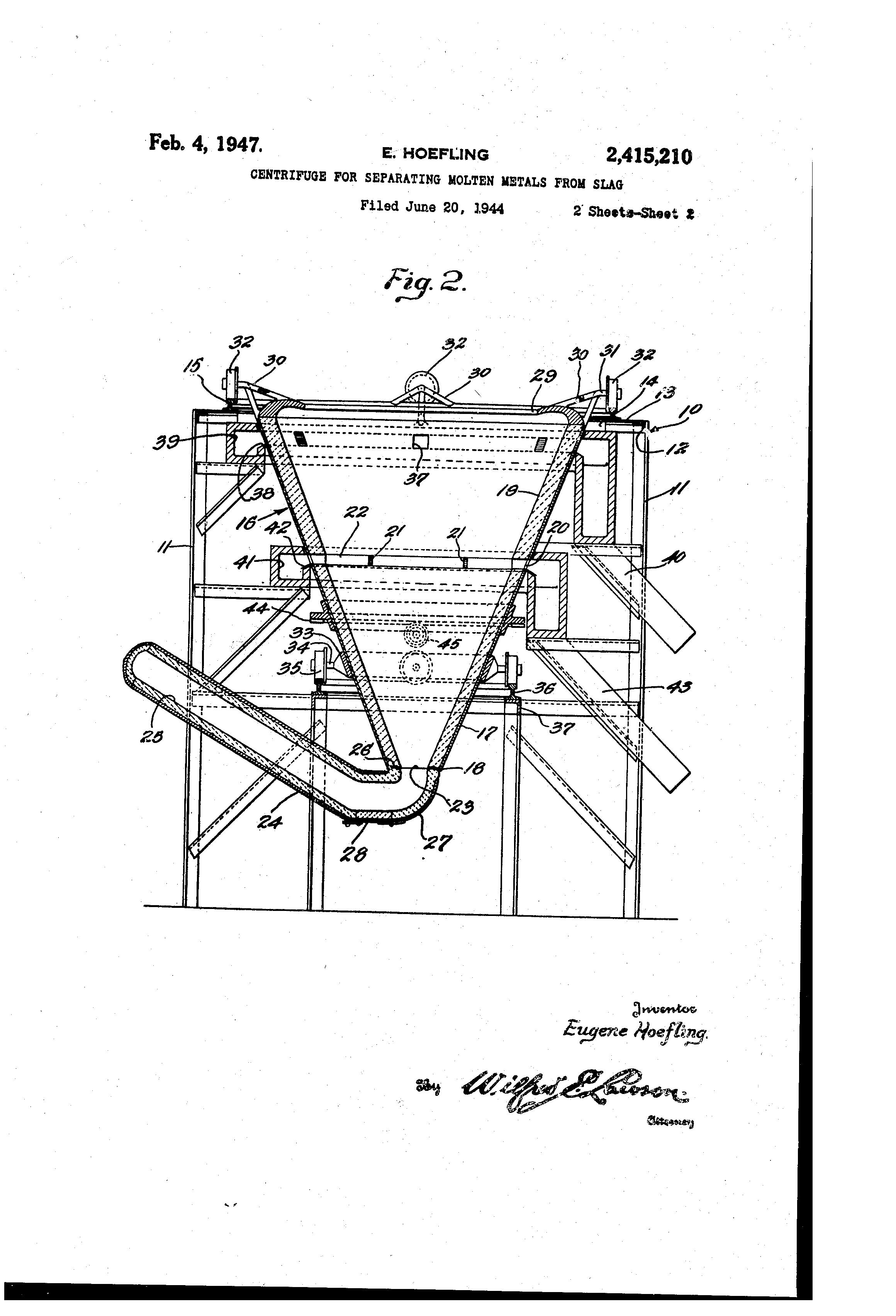 Sand And Slag Separator : Patent us centrifuge for separating molten metals
