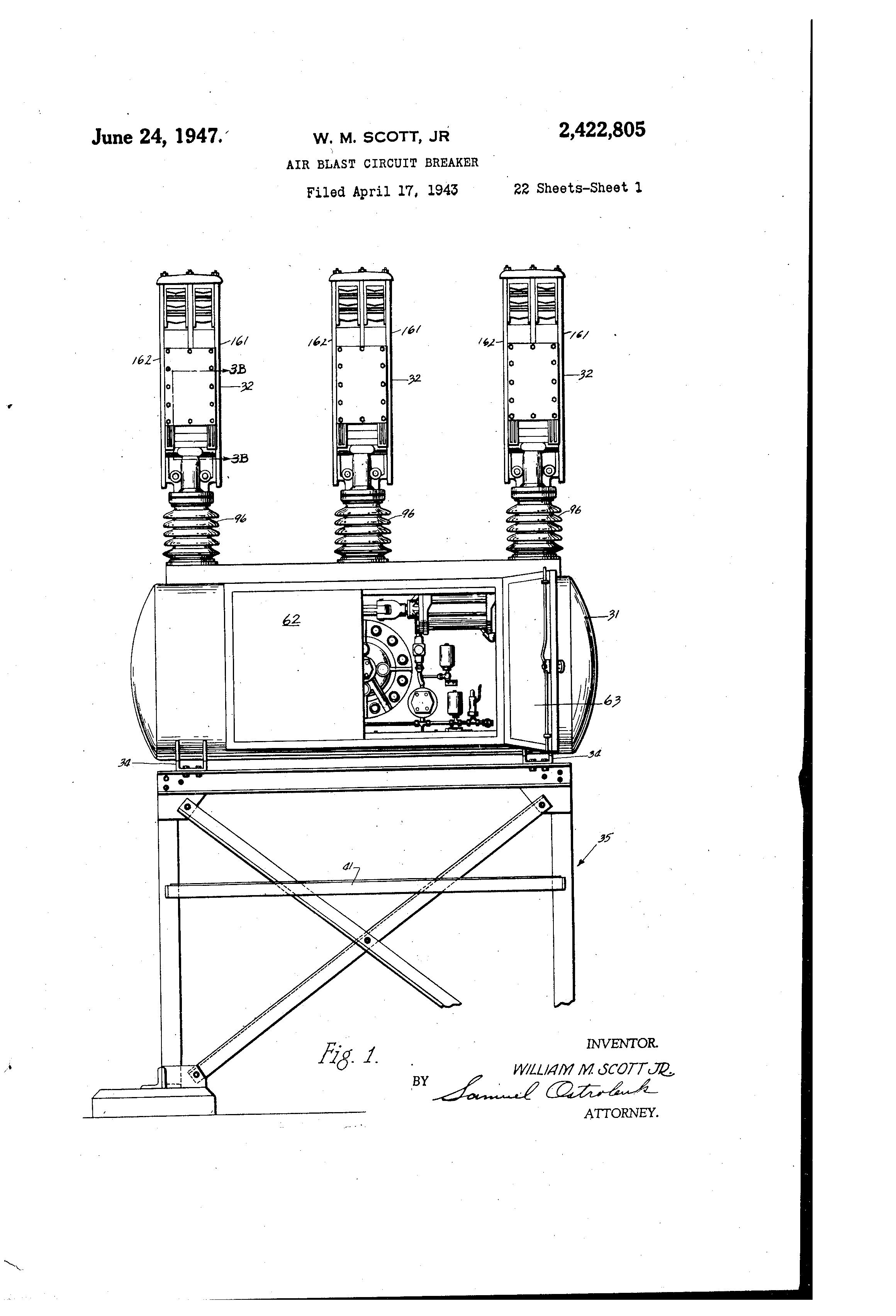 patent us2422805 - air blast circuit breaker