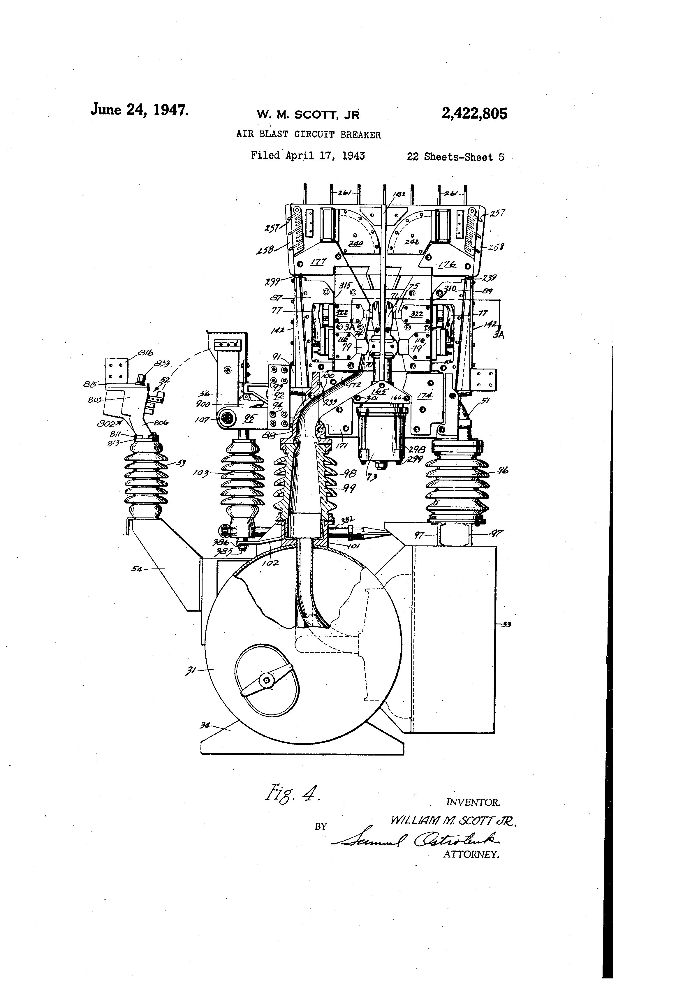 patent us2422805 - air blast circuit breaker