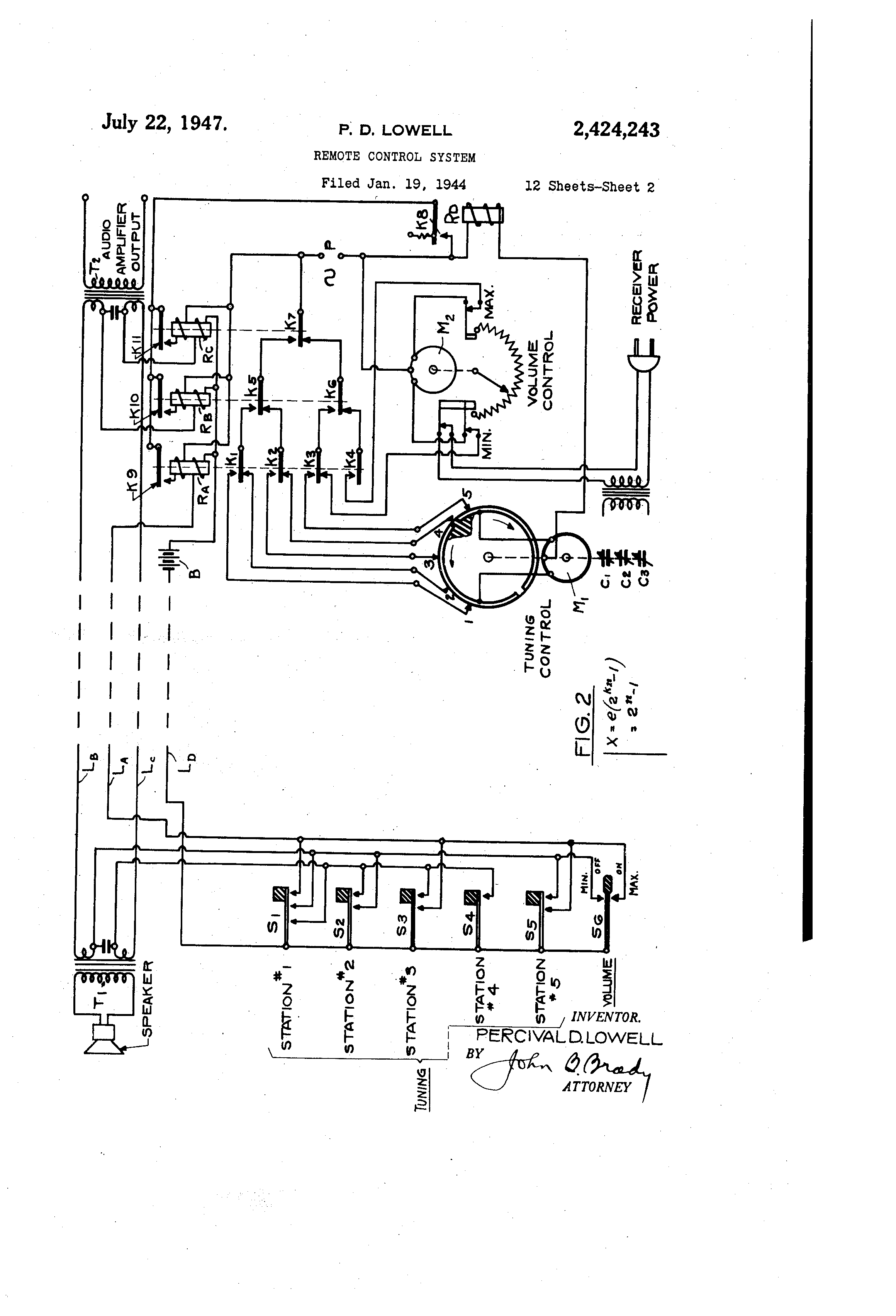 Patent Us2424243 Remote Control System Google Patents Onetube Transmitter Schematic Diagrams And Circuit Descriptions Drawing