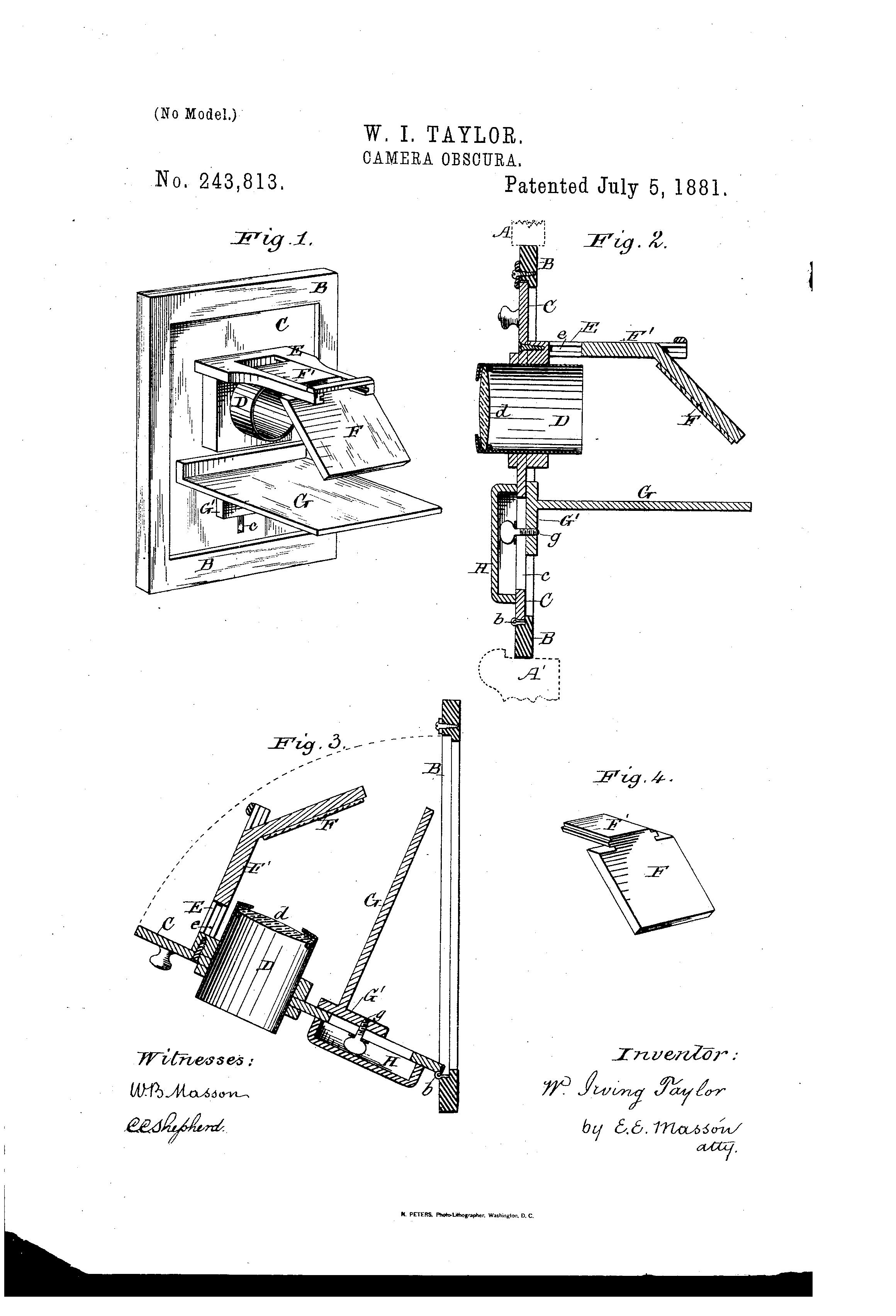 patent us243813 - camera obscura