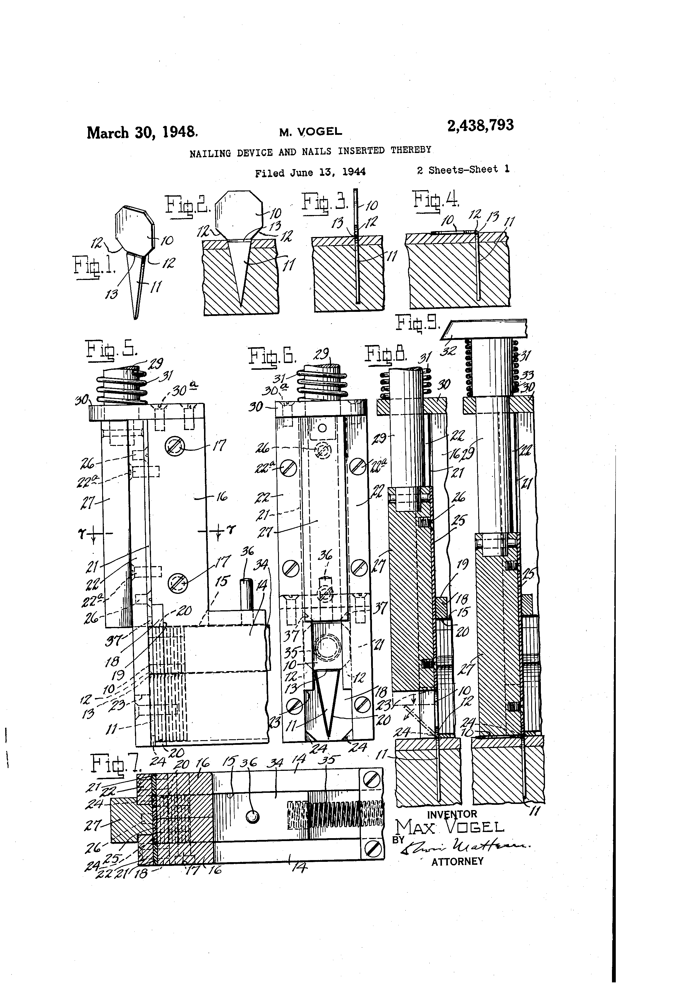 Patent Us2438793 Nailing Device And Nails Inserted Thereby Tormax Wiring Diagram Drawing