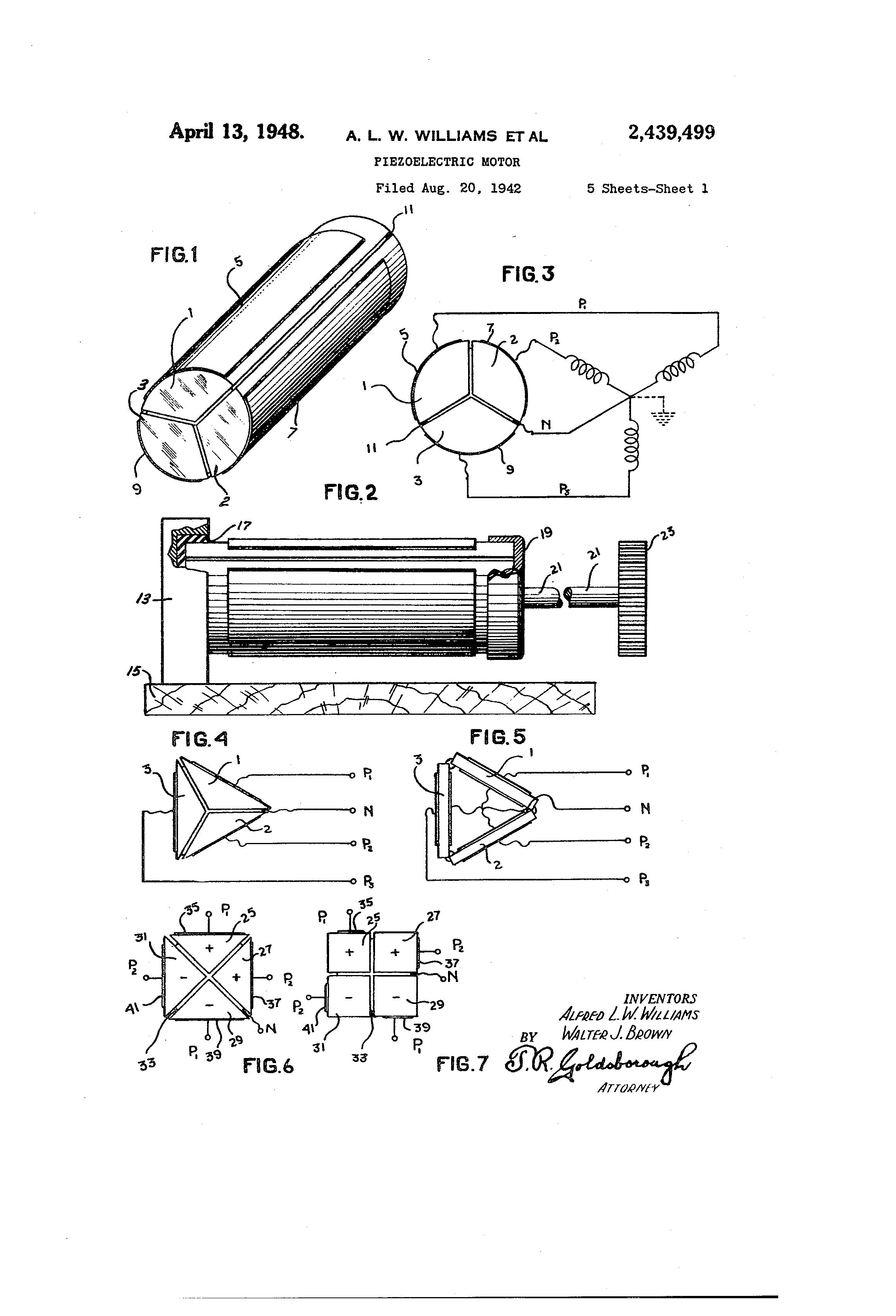 Patent Us2439499 Piezoelectric Motor Google Patents