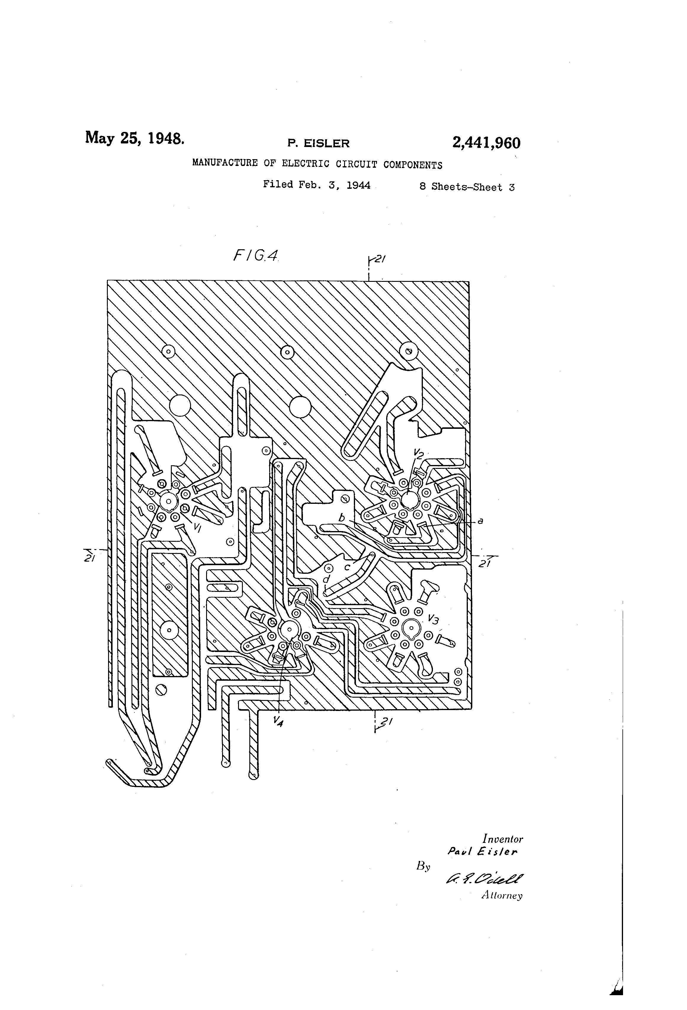 Patent Us2441960 Manufacture Of Electric Circuit Components Drawing Circuits