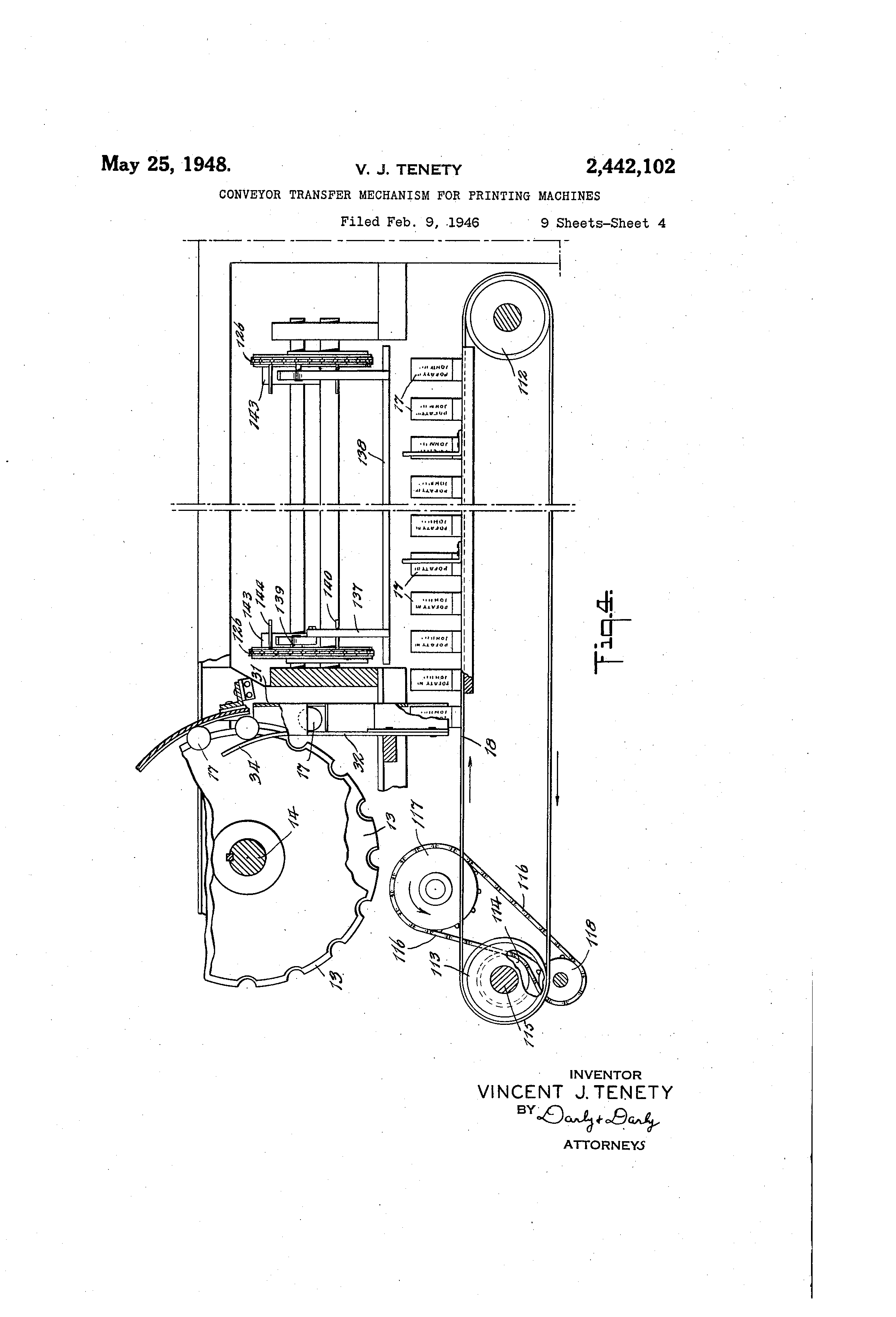 Patent Us2442102 Conveyor Transfer Mechanism For Printing