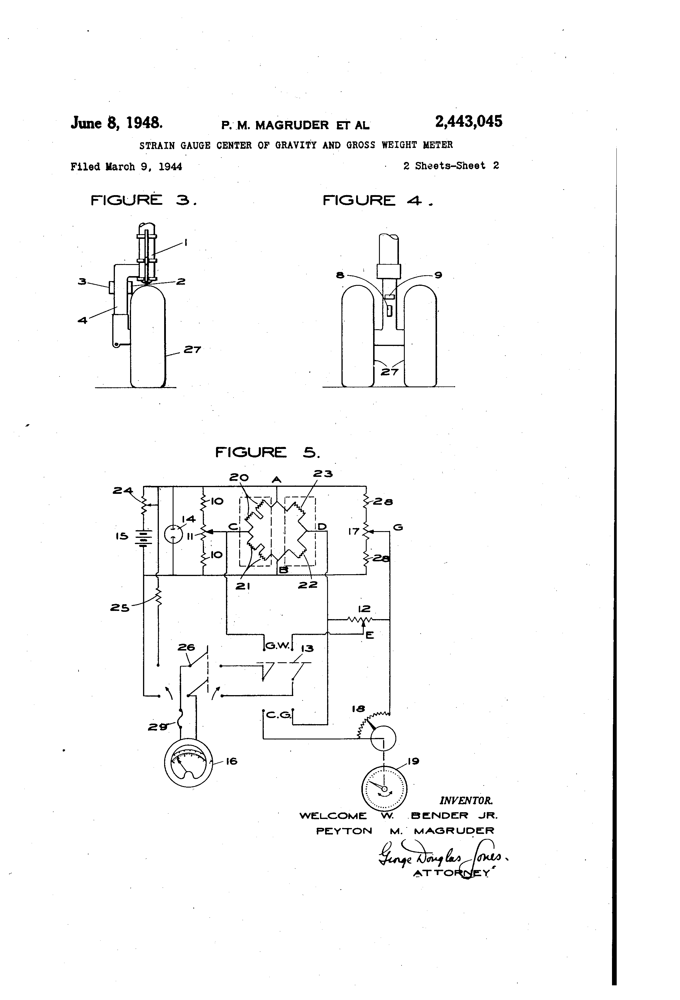 US2443045 1 patent us2443045 strain gauge center of gravity and gross weight strain gage wiring diagram at crackthecode.co