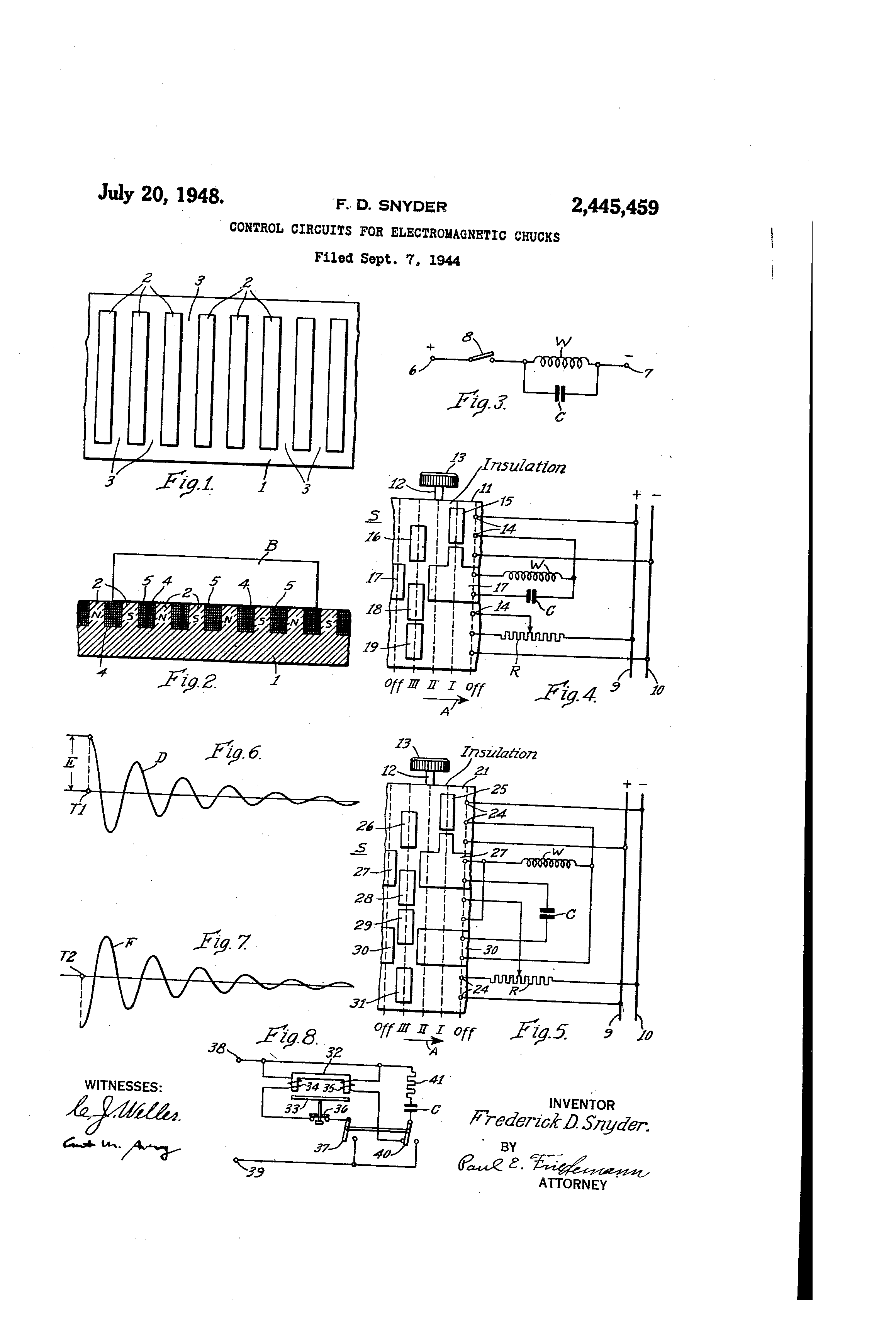 US2445459 0 patent us2445459 control circuits for electromagnetic chucks electromagnet wiring diagram at alyssarenee.co