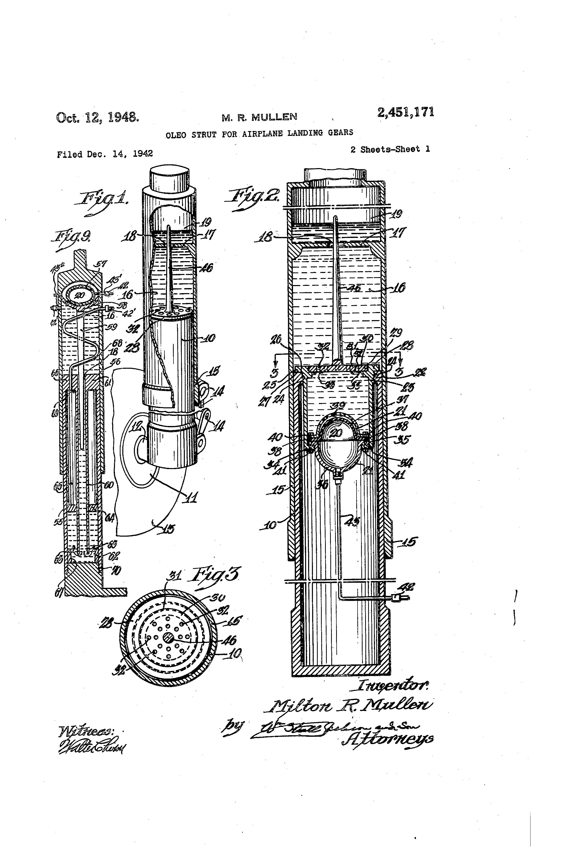 oleo strut diagram ford f 350 front strut diagram patent us2451171 - oleo strut for airplane landing gears ...