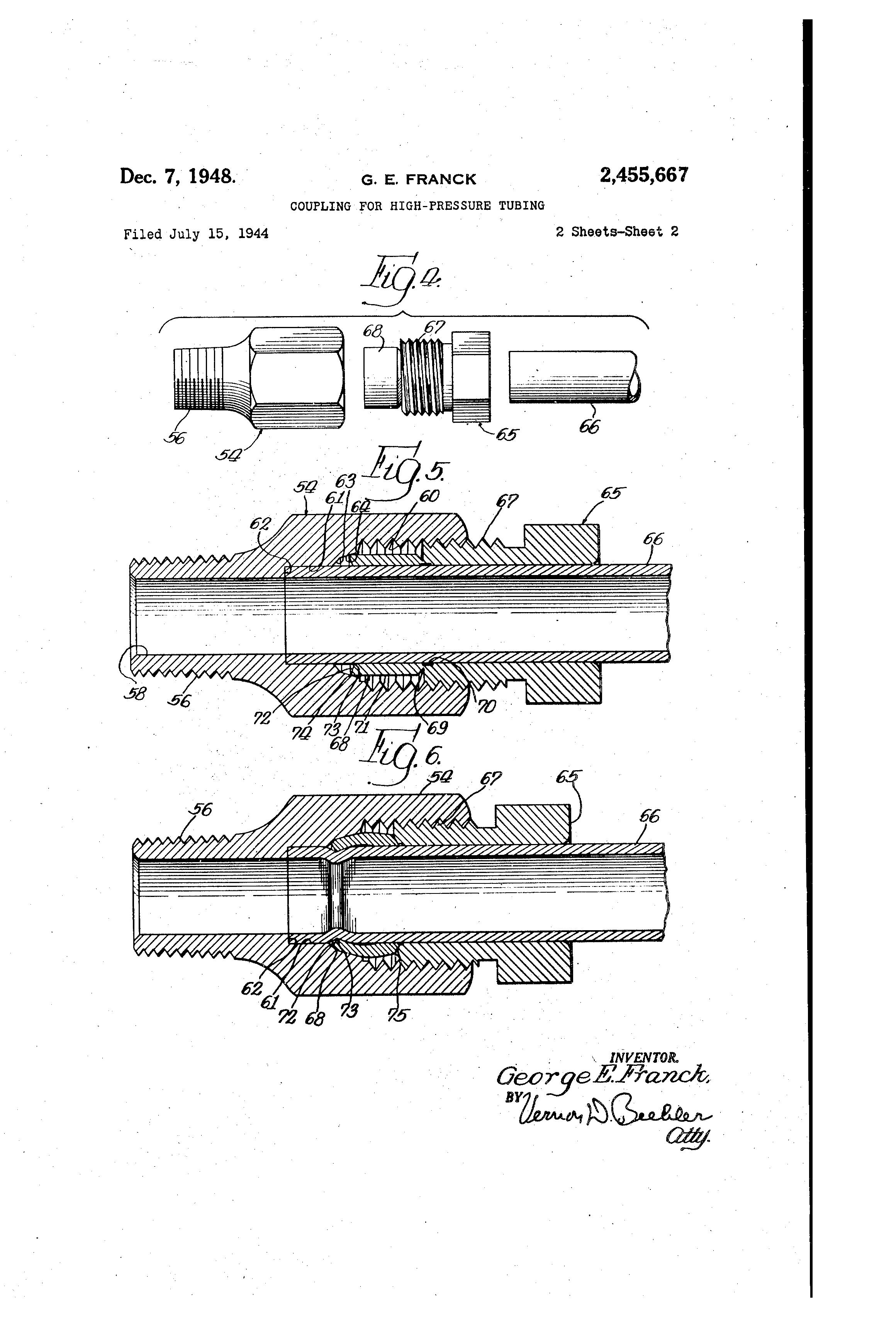 براءة الاختراع US2455667 - Coupling for high-pressure tubing