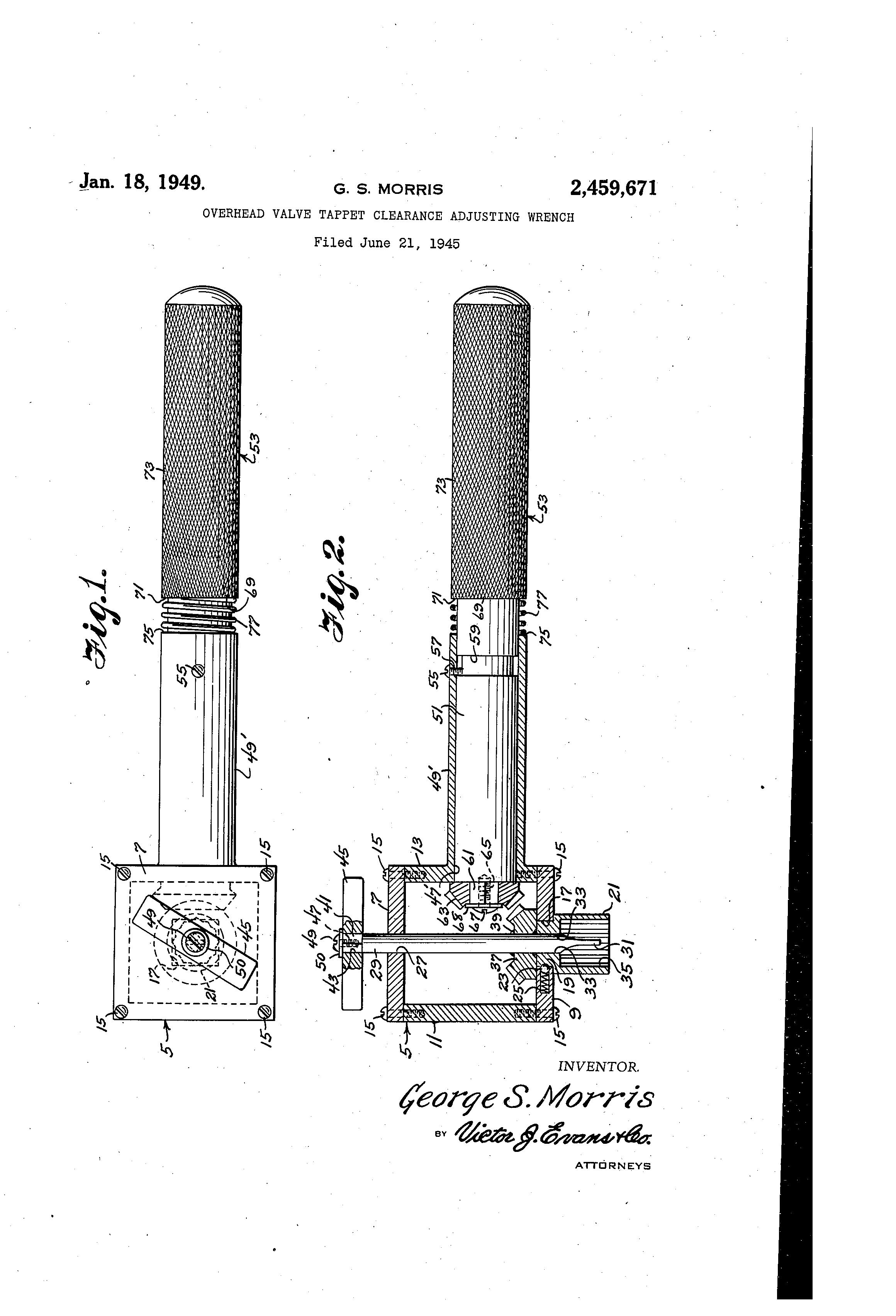 Patent US2459671 - Overhead valve tappet clearance adjusting