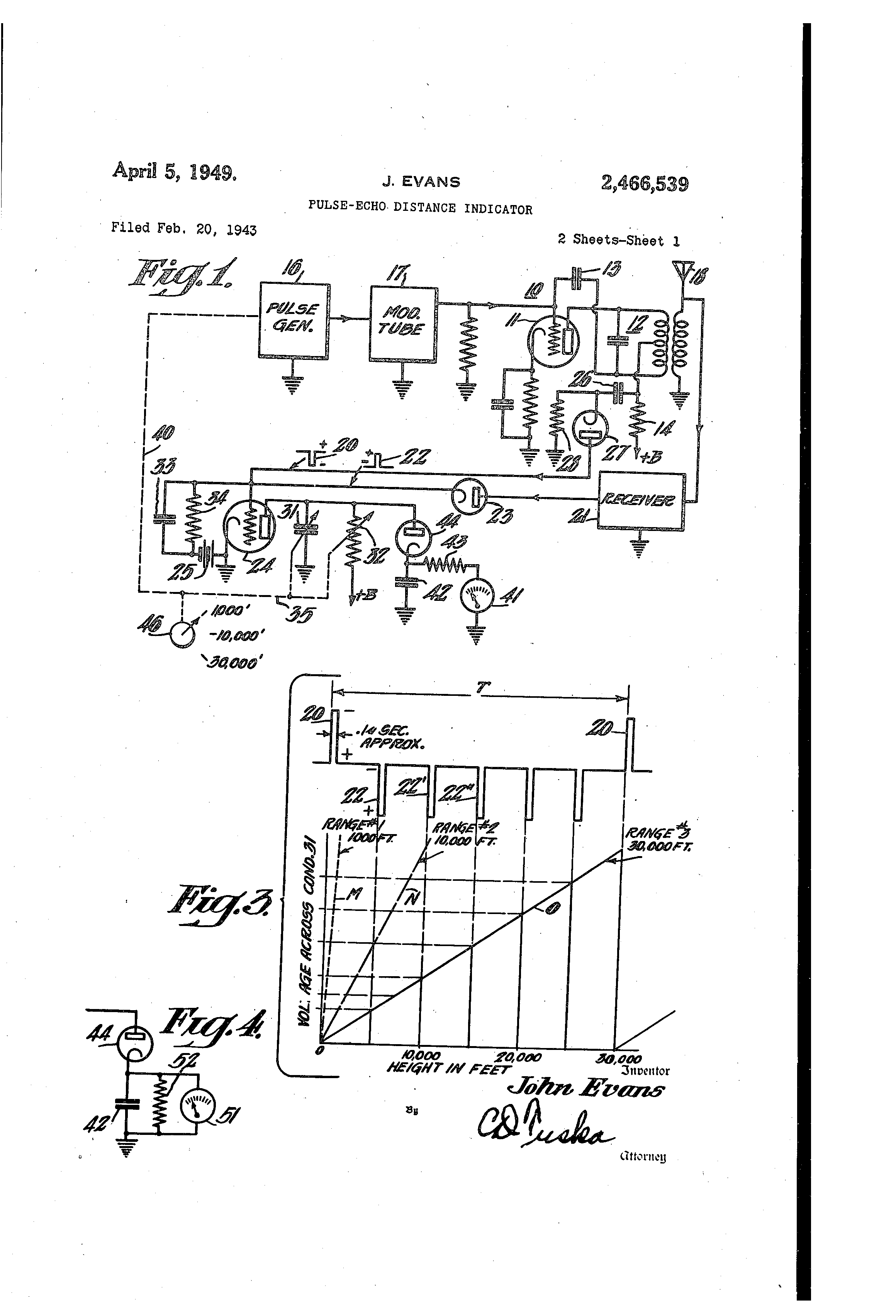 Patent Us2466539 Pulse Echo Distance Indicator Google Patents The Between Connection Of Discharge Side Ammeter Drawing