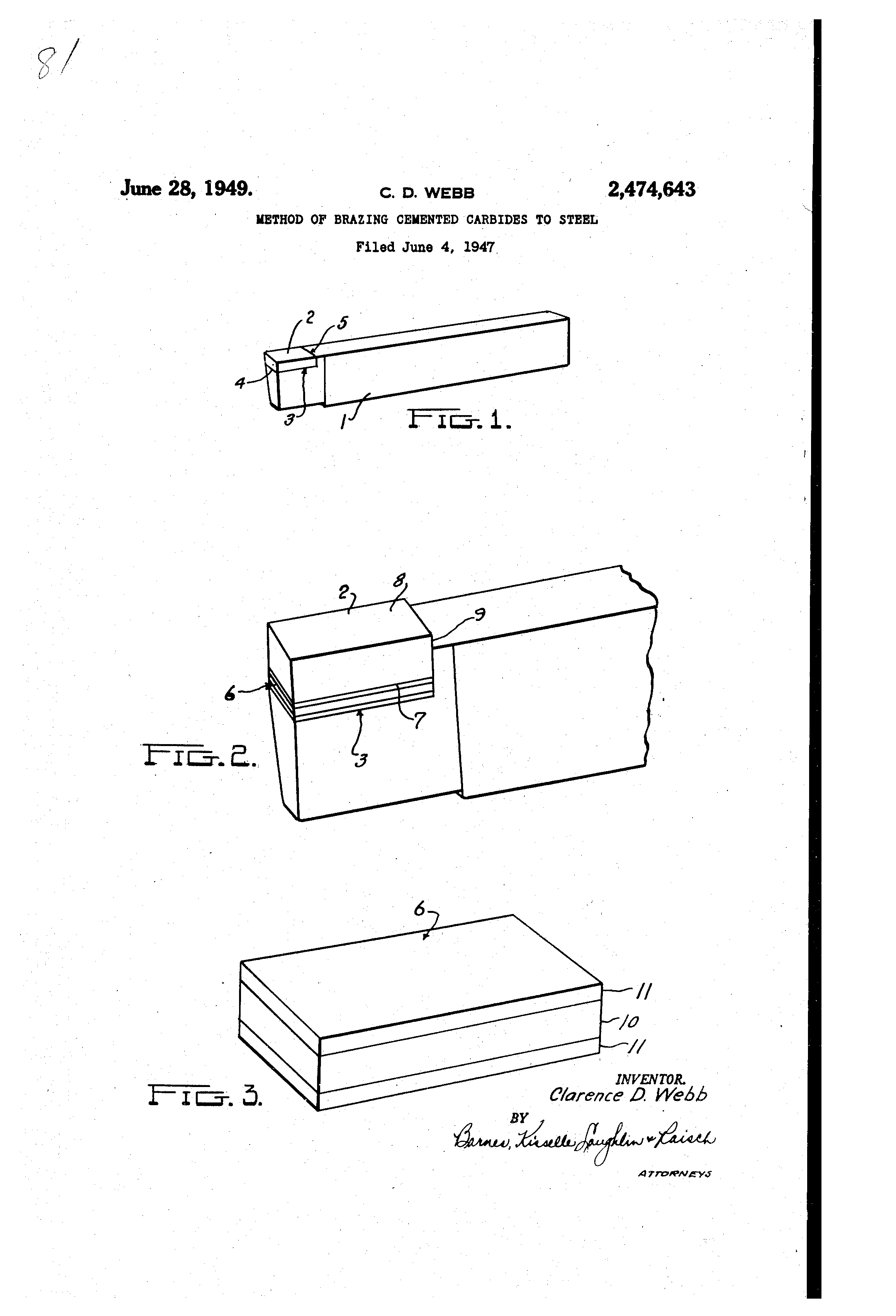 patent us2474643 method of brazing cemented carbides to steel 1945 Nickel with P On Back patent drawing