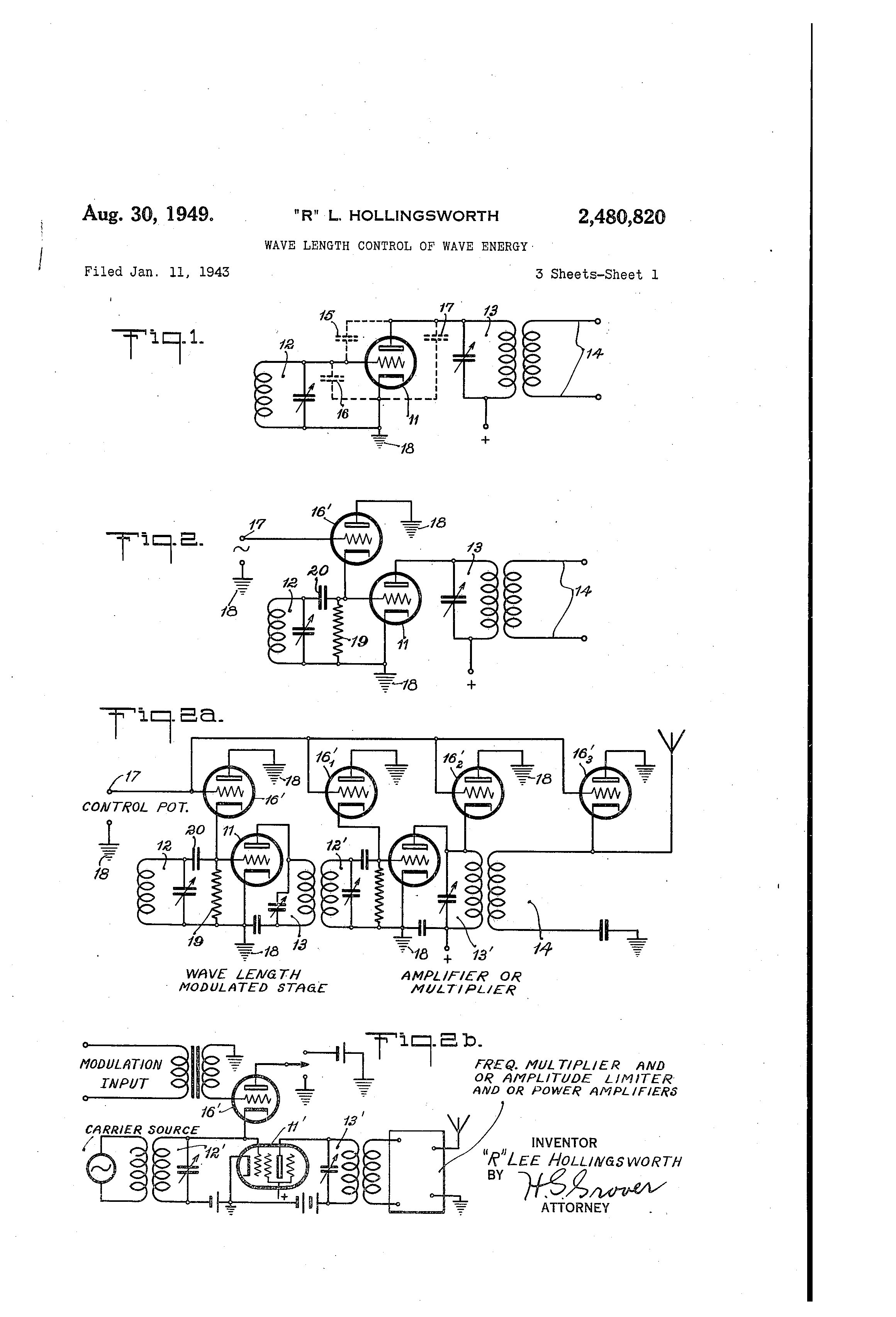 patent us2480820 wave length control of wave energy patents Energy Modulation Circuit Amazon patent drawing