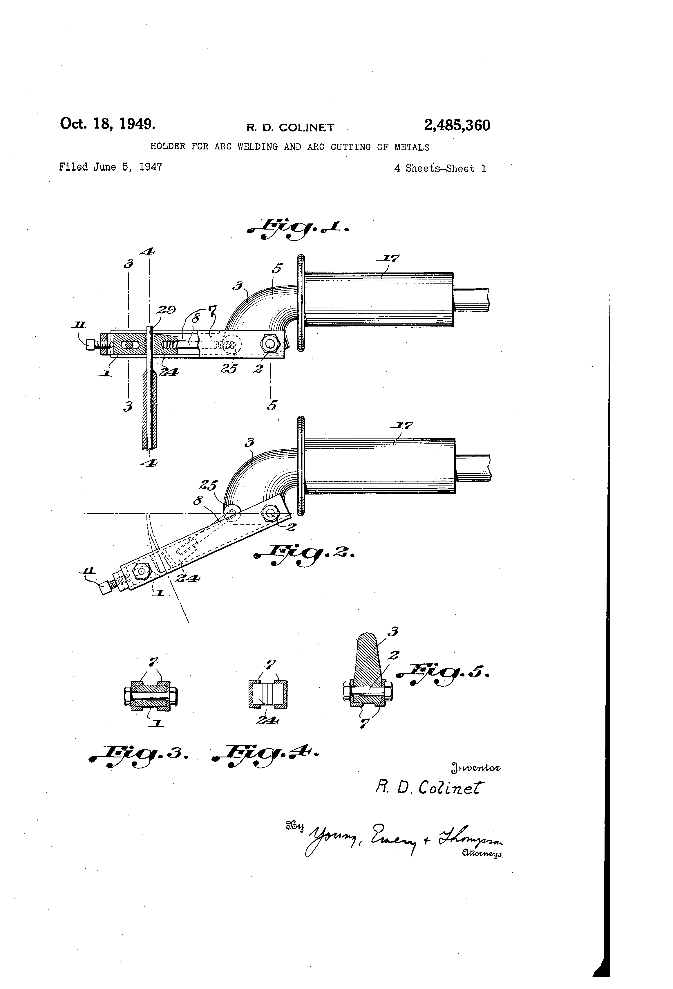 Patent Us2485360 Holder For Arc Welding And Cutting Of Metals Diagram Drawing