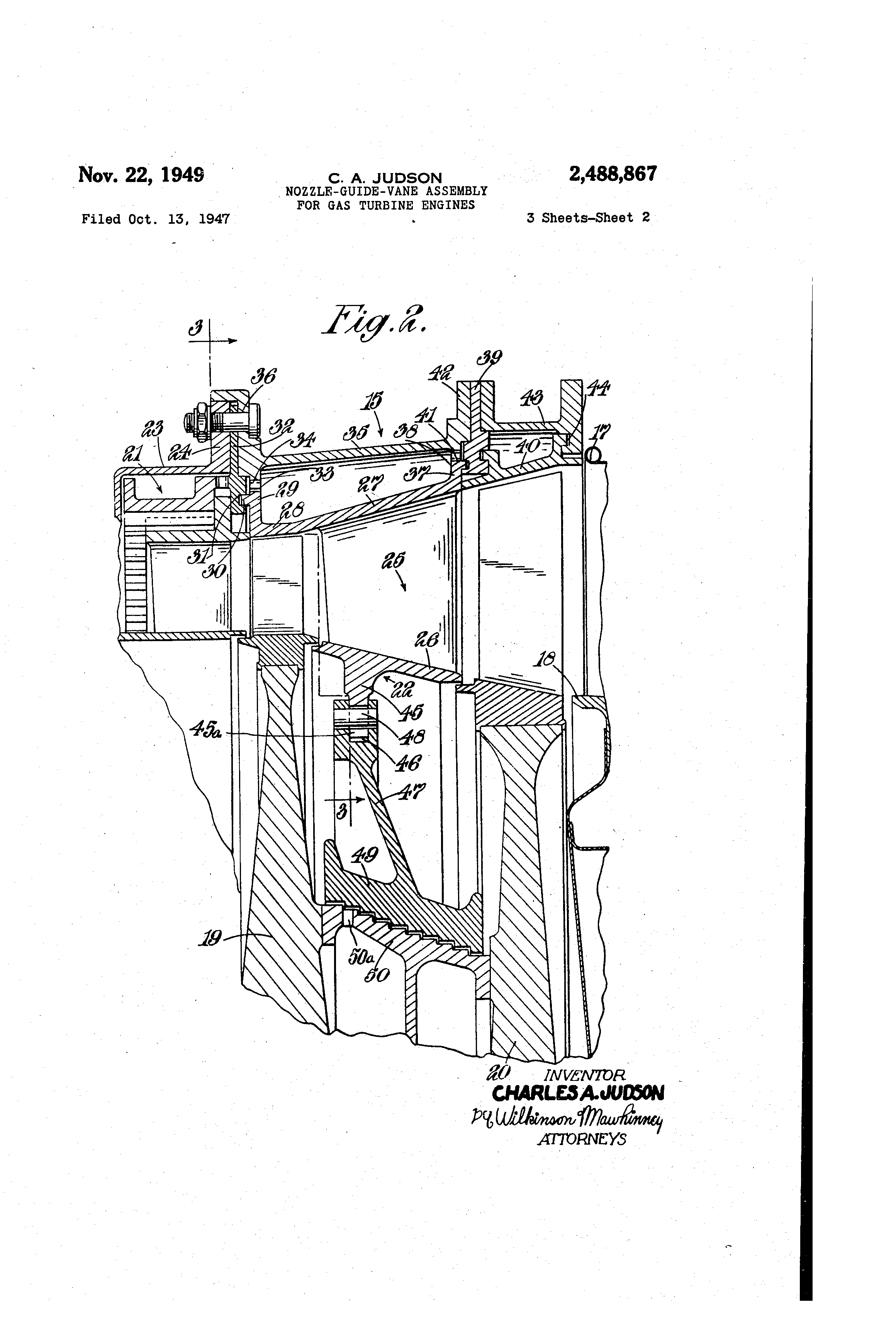 patent us2488867 - nozzle-guide-vane assembly for gas turbine engines