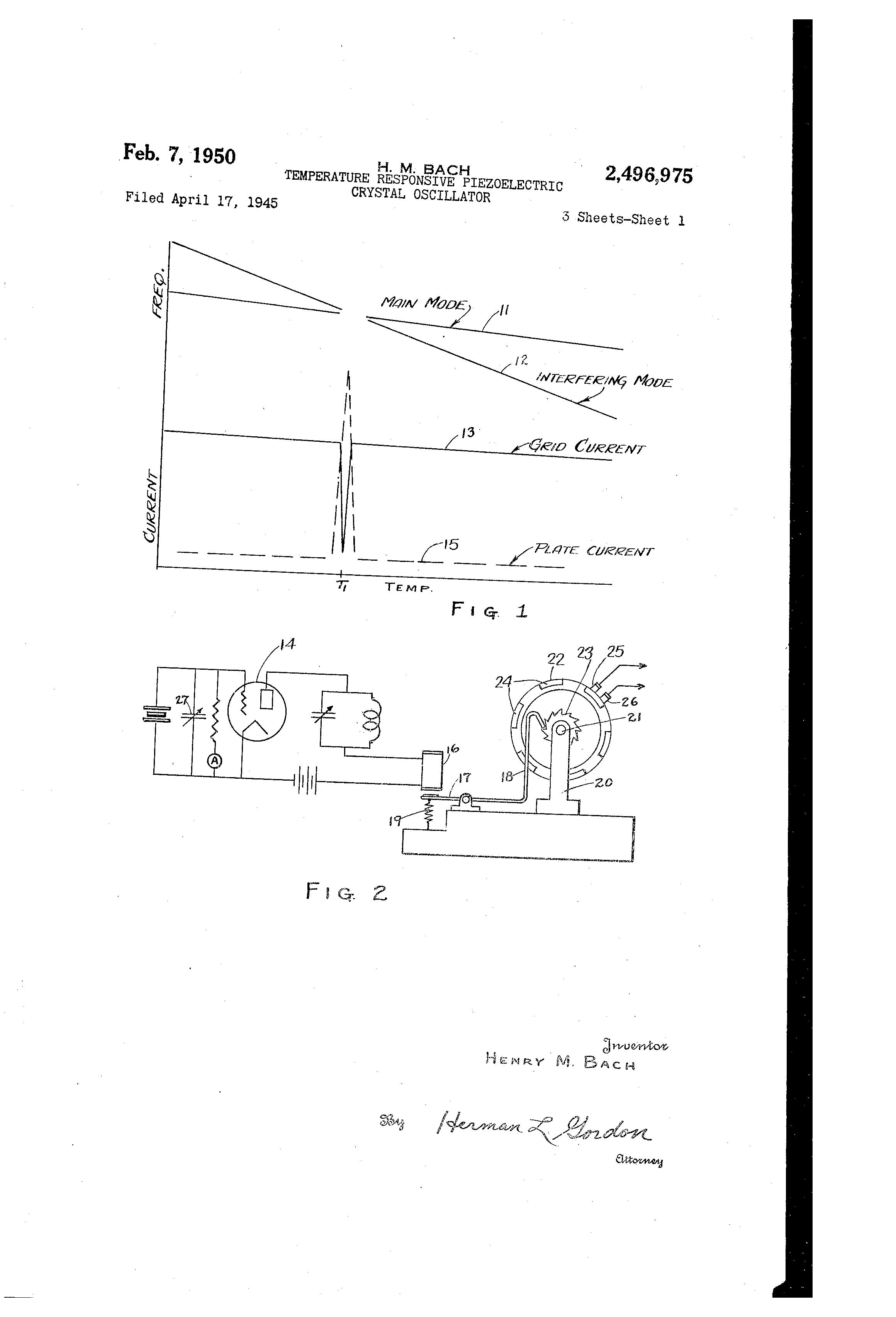 Simple Crystal Oscillator Circuit Wiring Diagram Database Fire Alarm Nonstopfree Electronic Circuits Patent Us2496975 Temperature Responsive Piezo Electric 32 Khz To 1 Hz