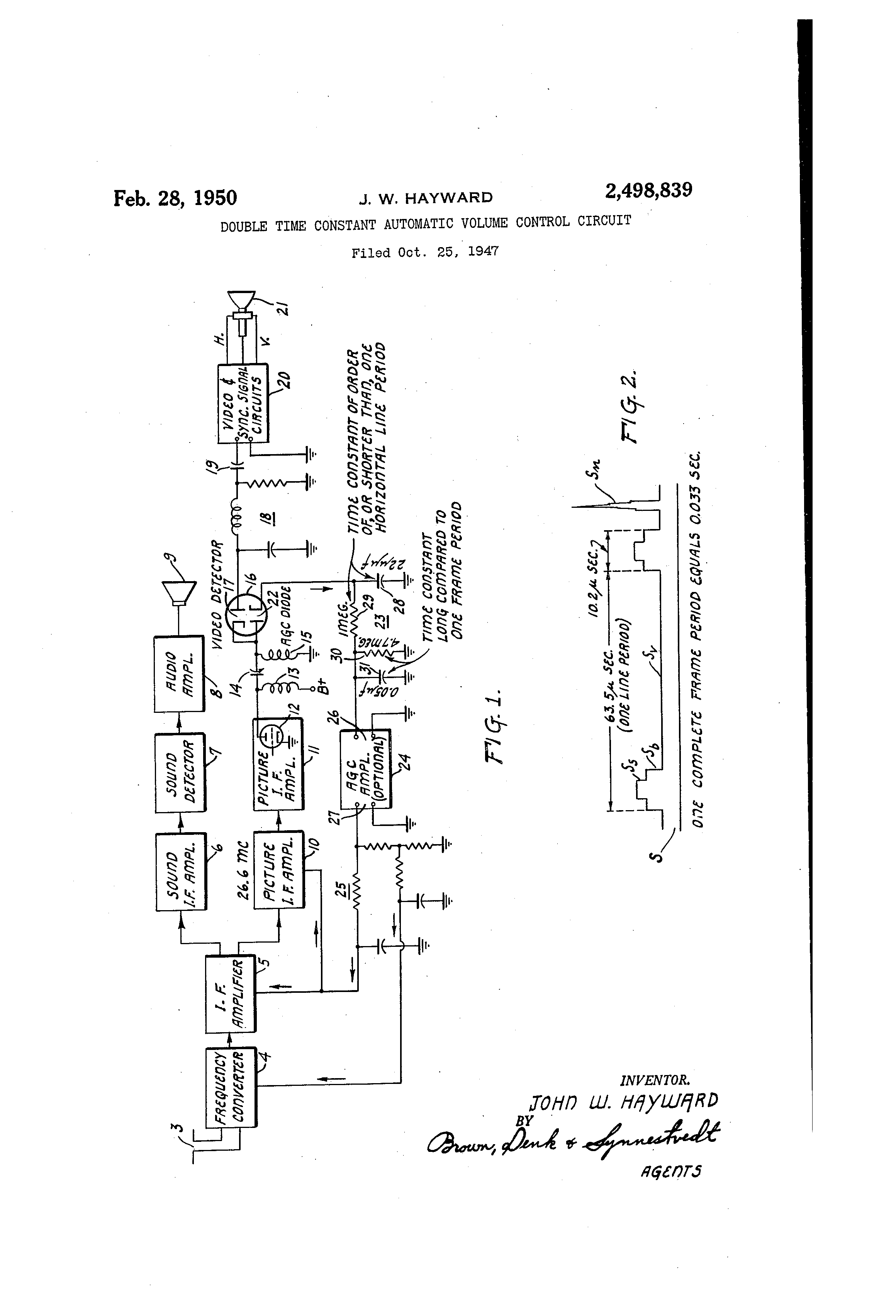 Patent US2498839 - Double time constant automatic volume