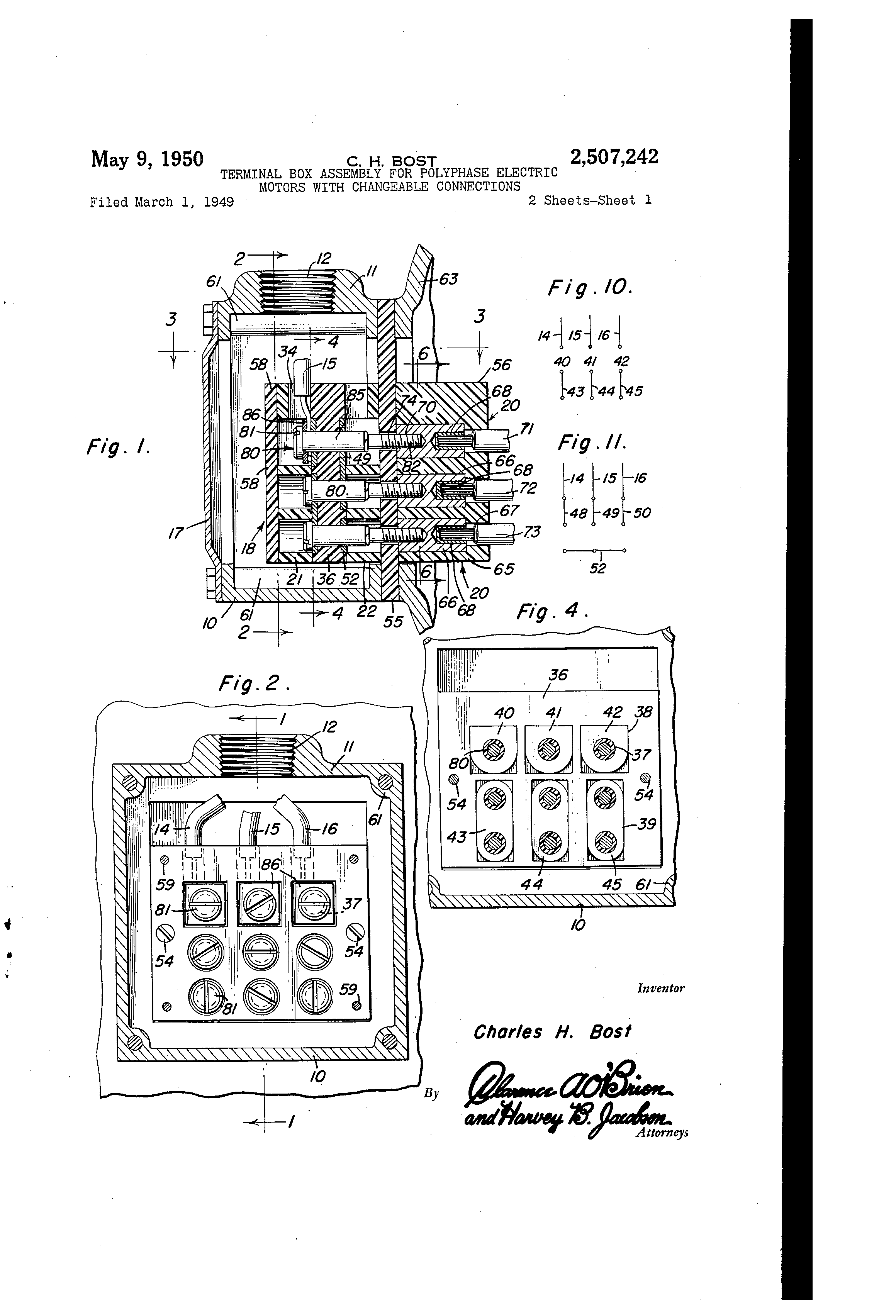 patent us2507242 terminal box assembly for polyphase electric