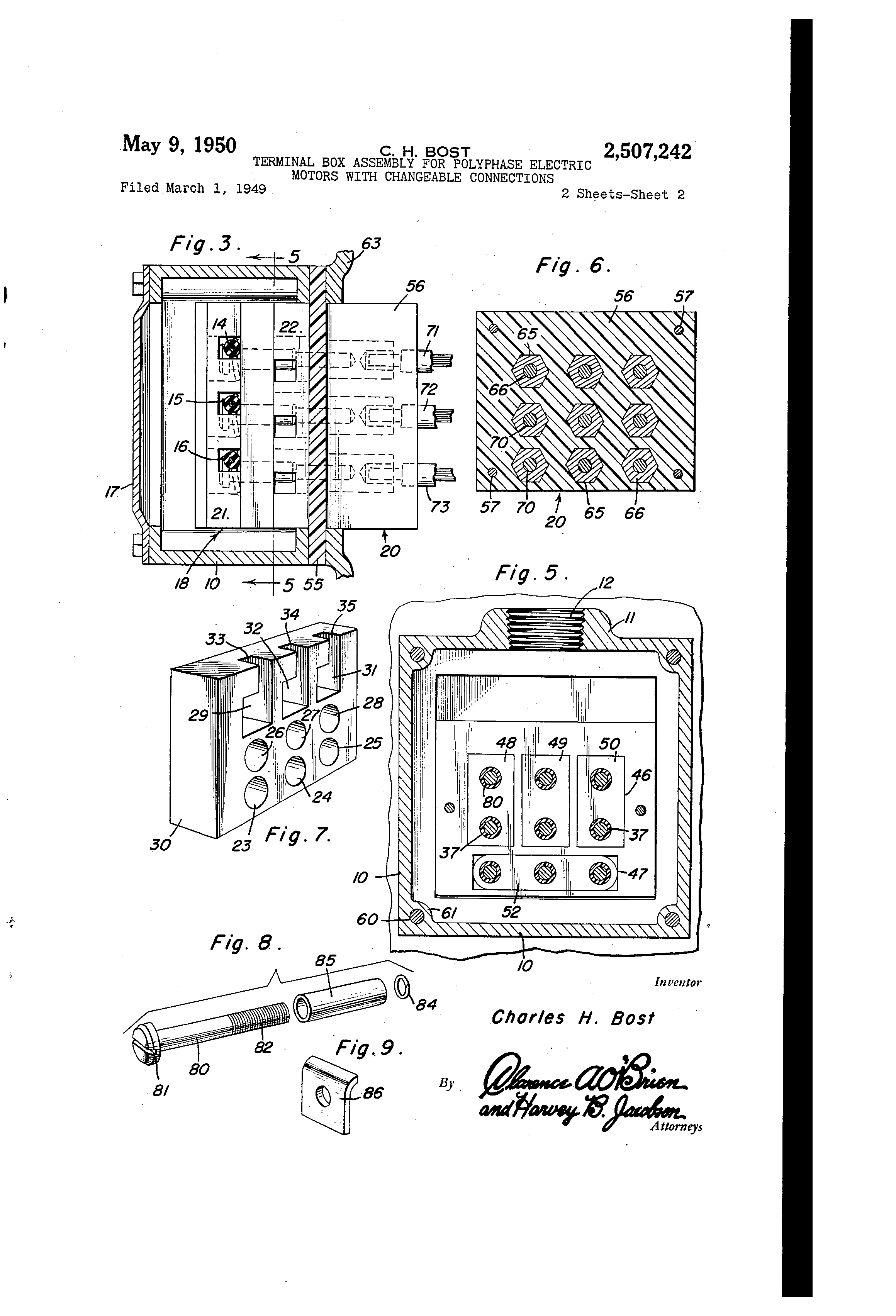 Patent us2507242 terminal box assembly for polyphase for Electric motor connection box