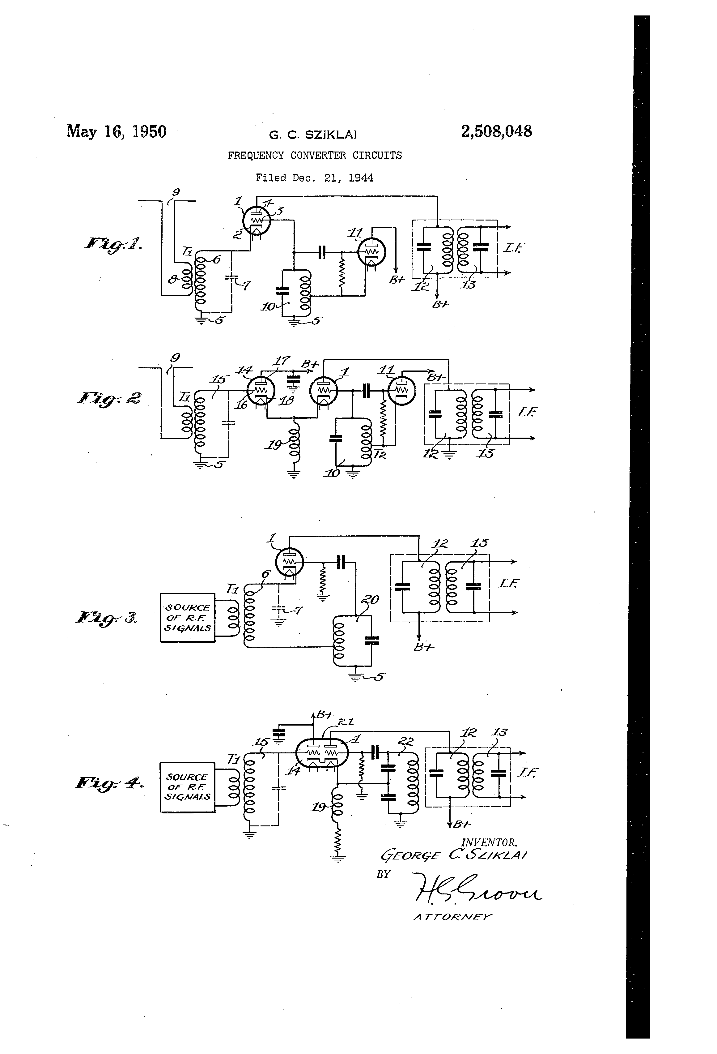 Patent Us2508048 Frequency Converter Circuits Google Patents Wiring Diagram Drawing