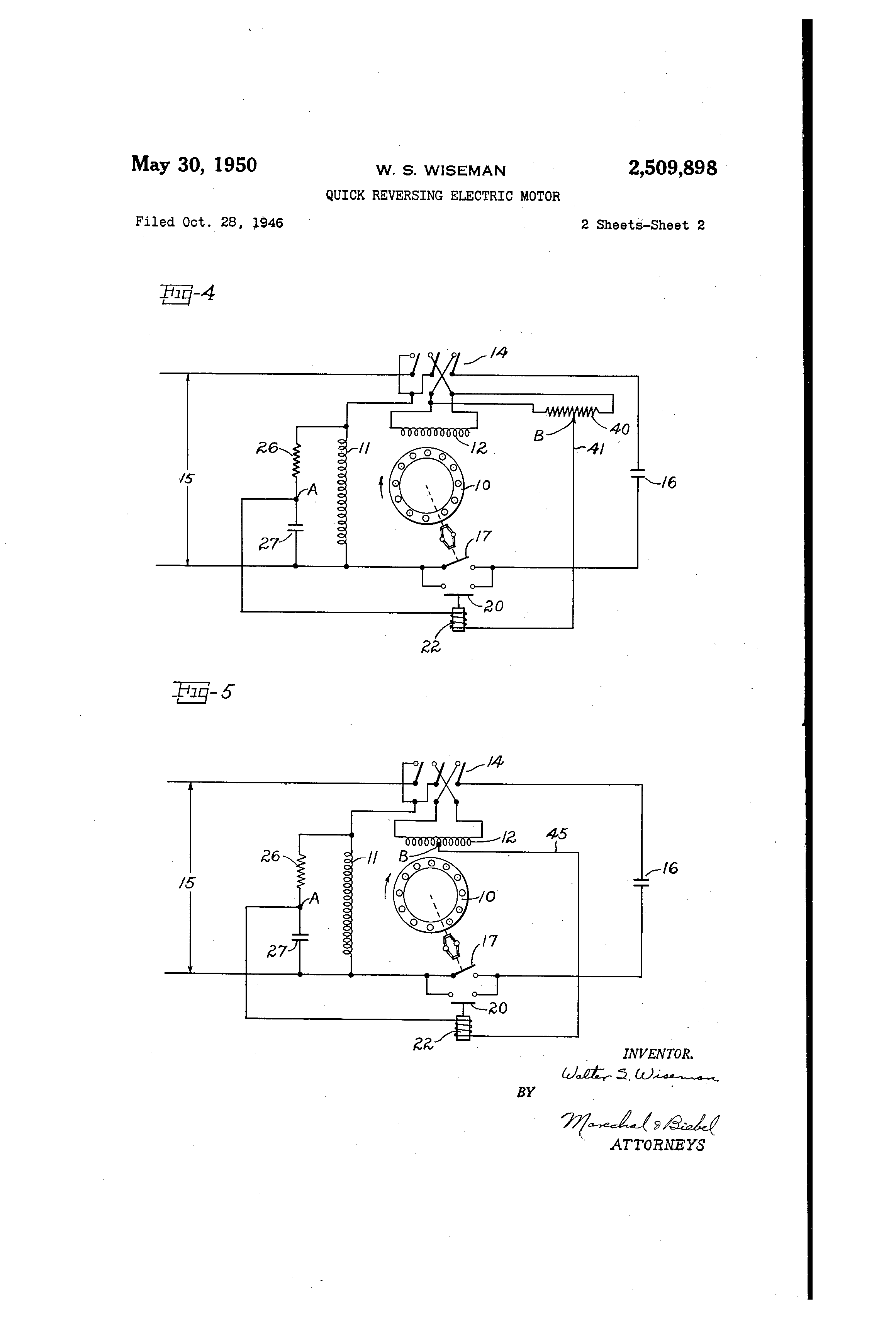 US2509898 1 patent us2509898 quick reversing electric motor google patents single phase motor reversing wiring diagram at soozxer.org