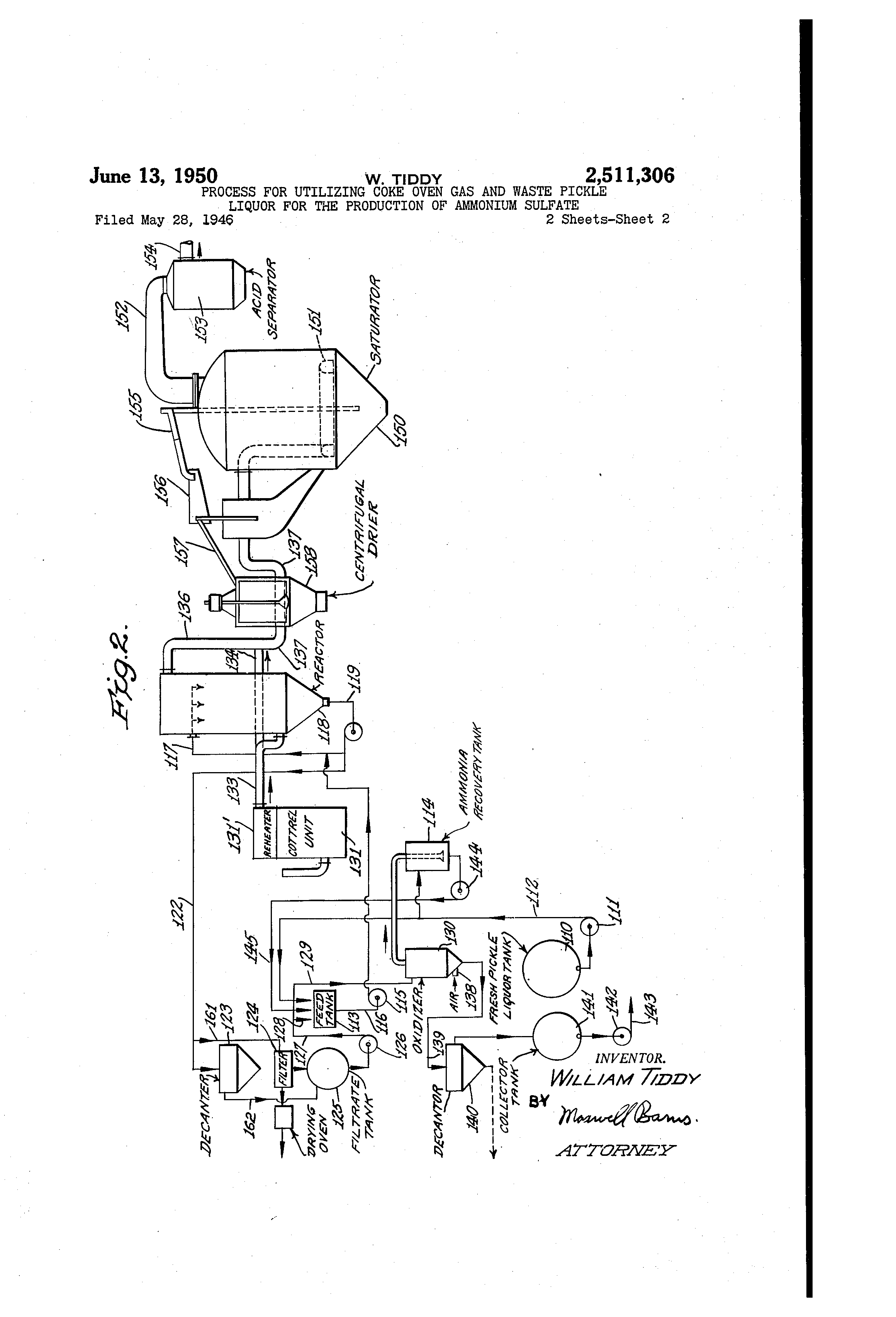 Patent US2511306 - Process for utilizing coke oven gas and waste