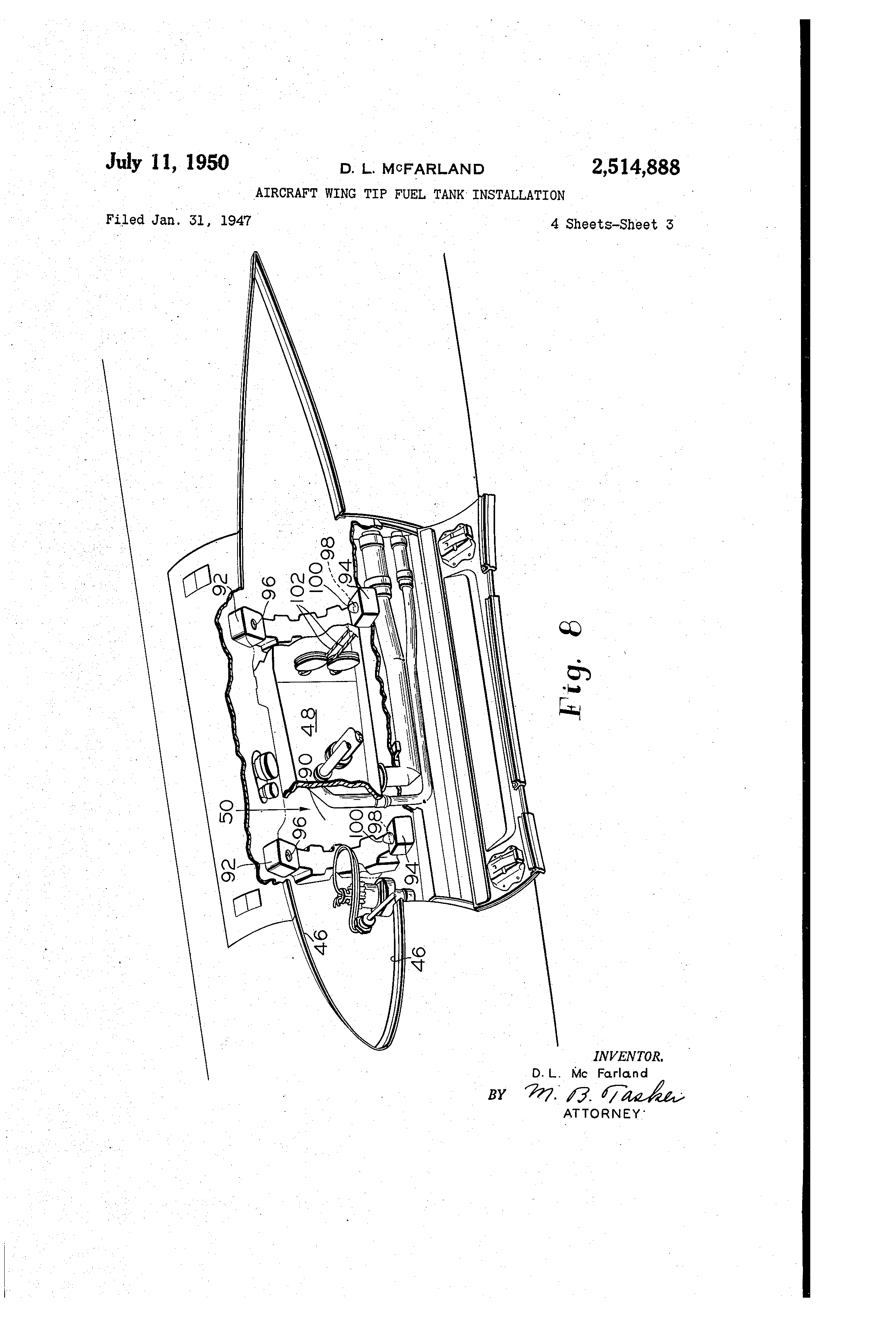 patent us2514888 - aircraft wing tip fuel tank installation