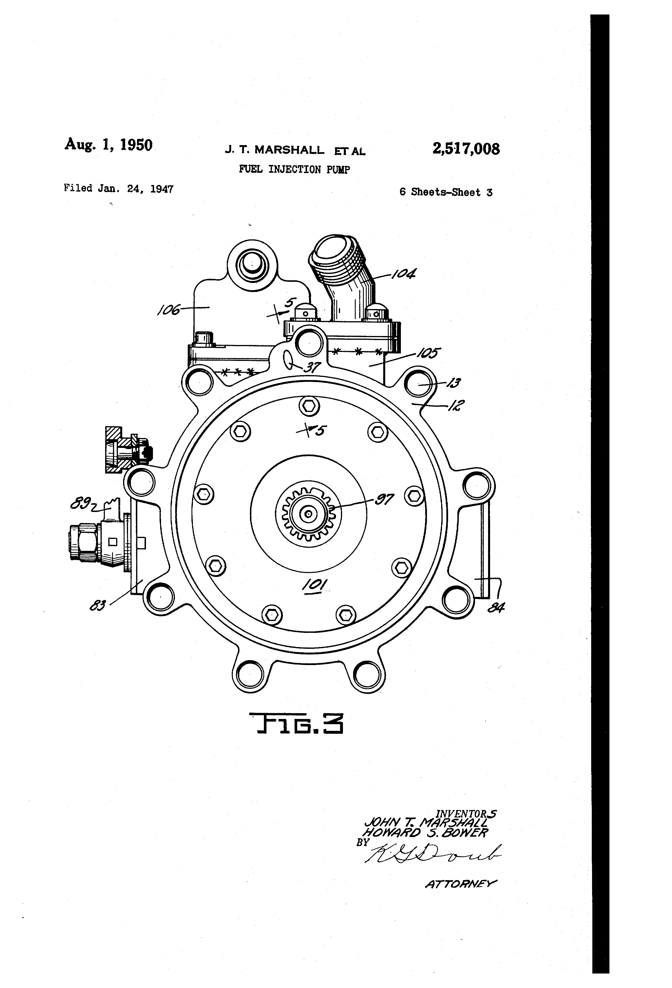 patent us2517008 fuel injection pump patents 1950s Saddle Shoes patent drawing