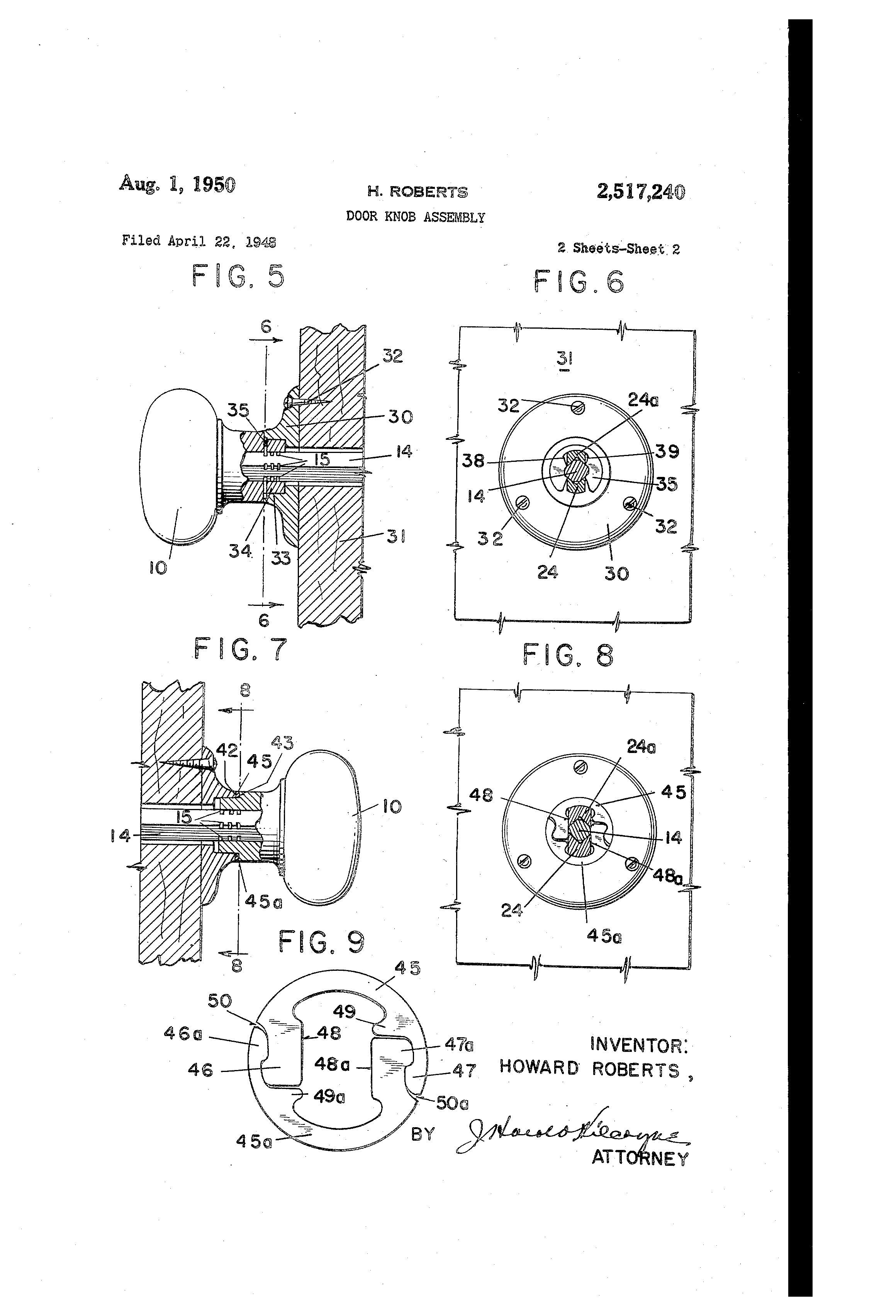 Patent US2517240 Door knob assembly Google Patents