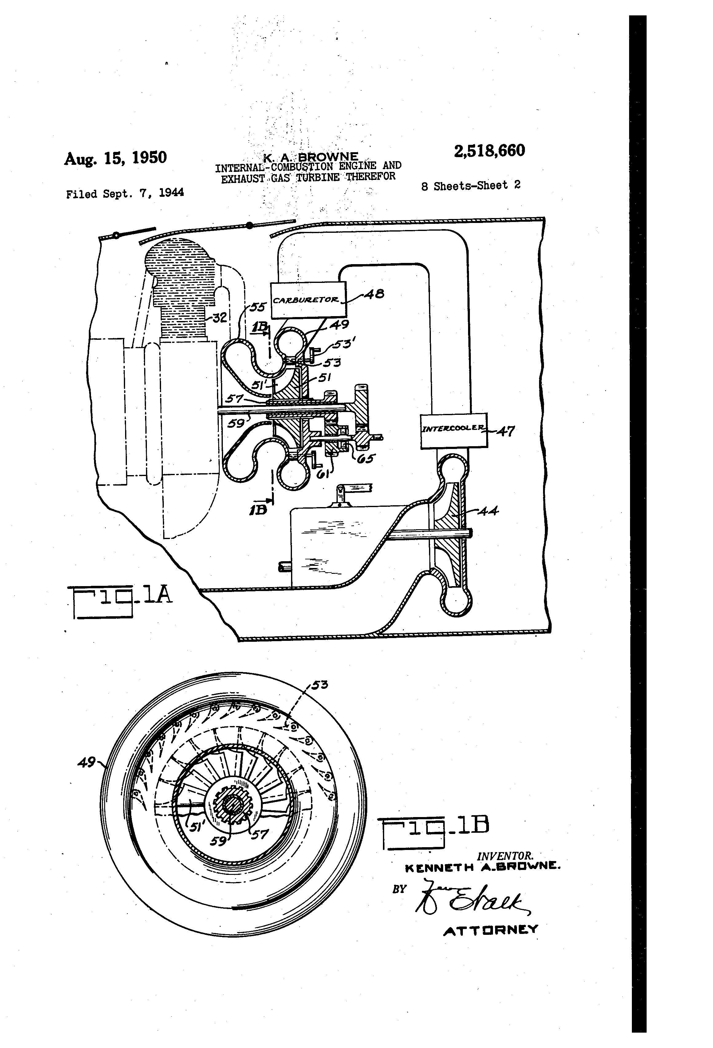 patent us2518660 internal bustion engine and exhaust gas Internal Combustion Engine Fundamentals patent drawing