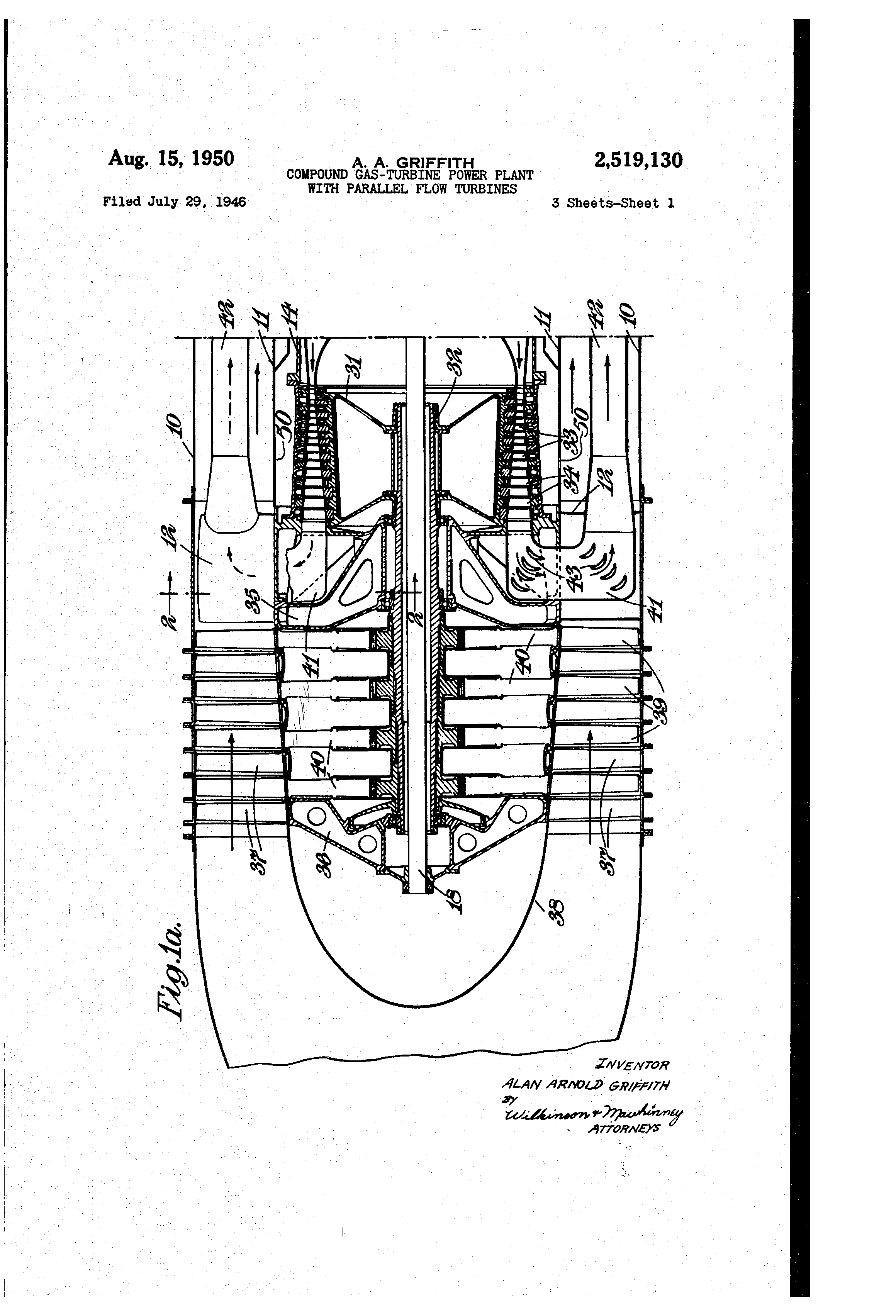 Patent US pound gas turbine power plant with parallel
