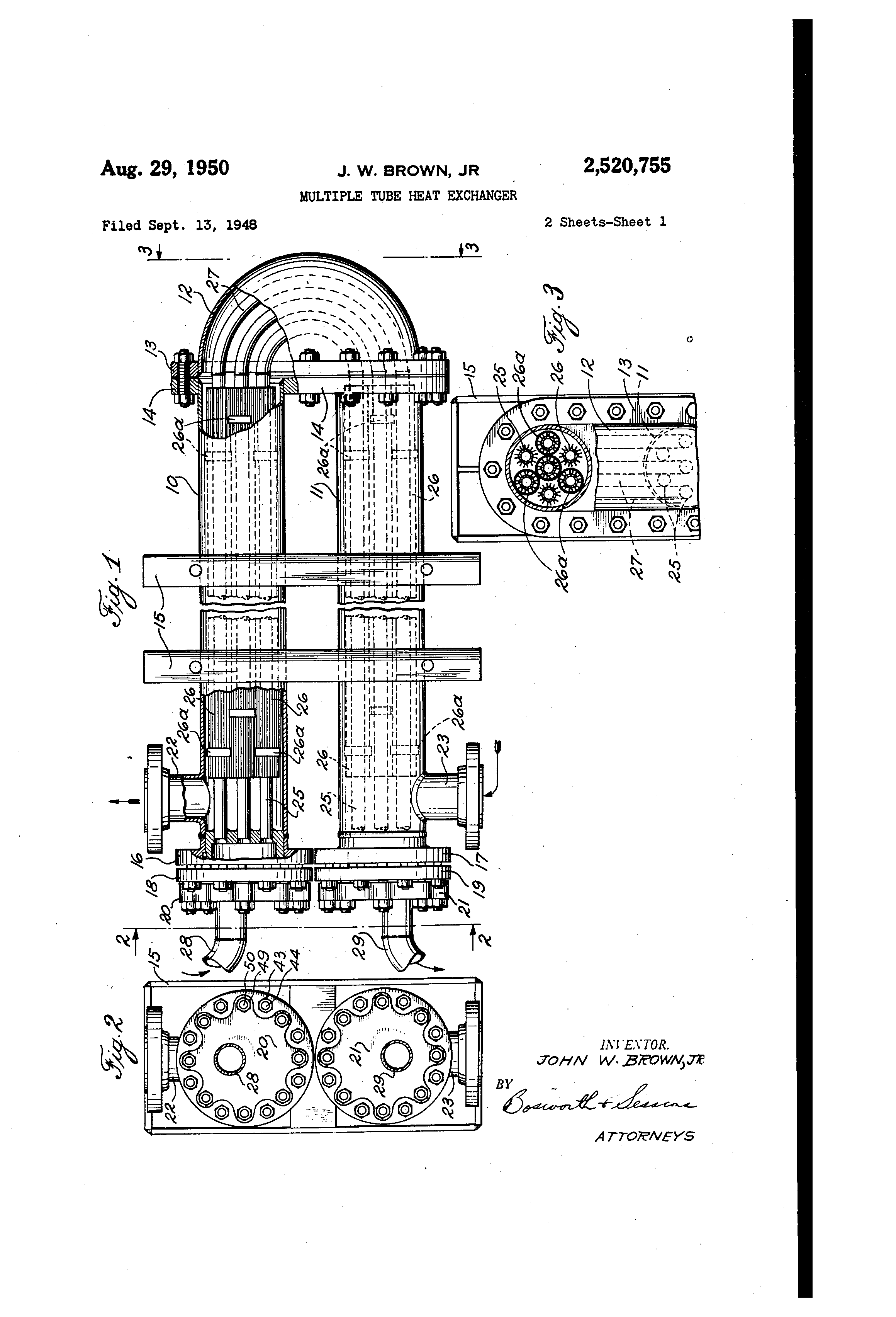 patent us2520755 - multiple tube heat exchanger