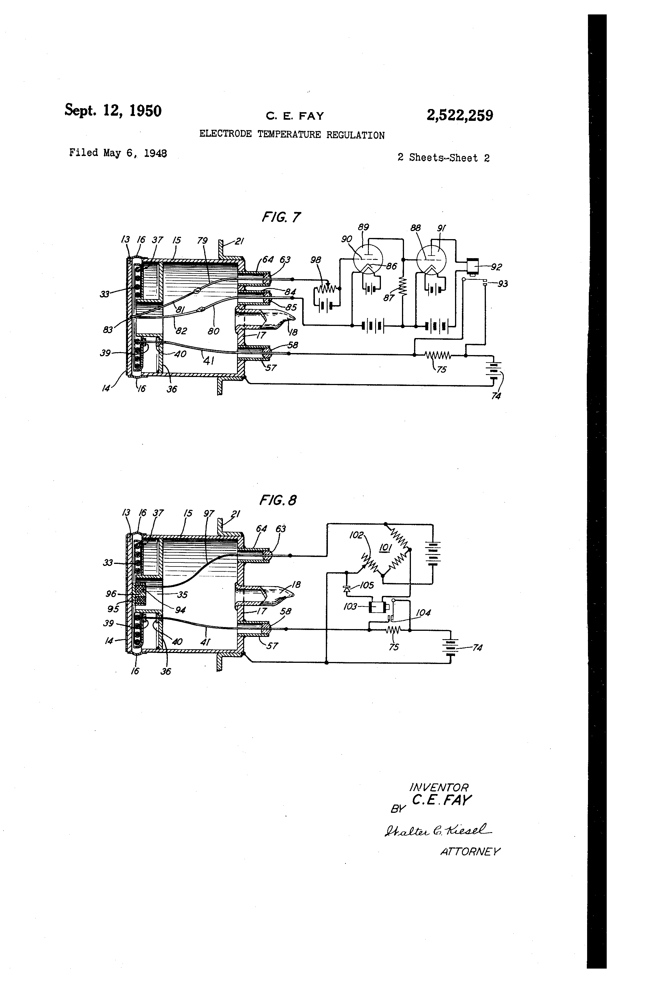 patent us2522259 electrode temperature regulation patents Oil Electrodes patent drawing