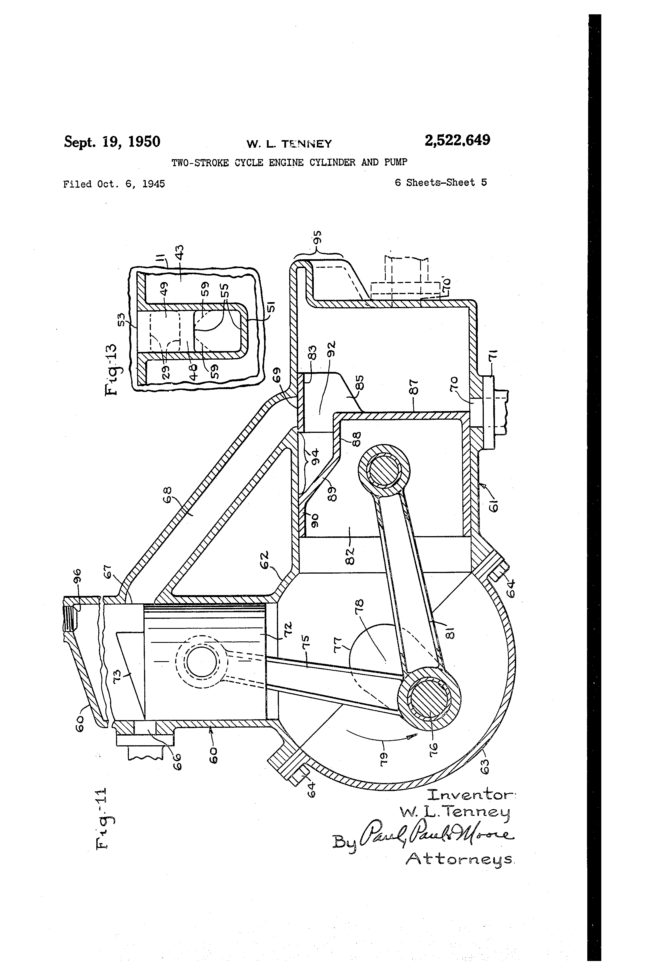 Patent Us2522649 Two Stroke Cycle Engine Cylinder And