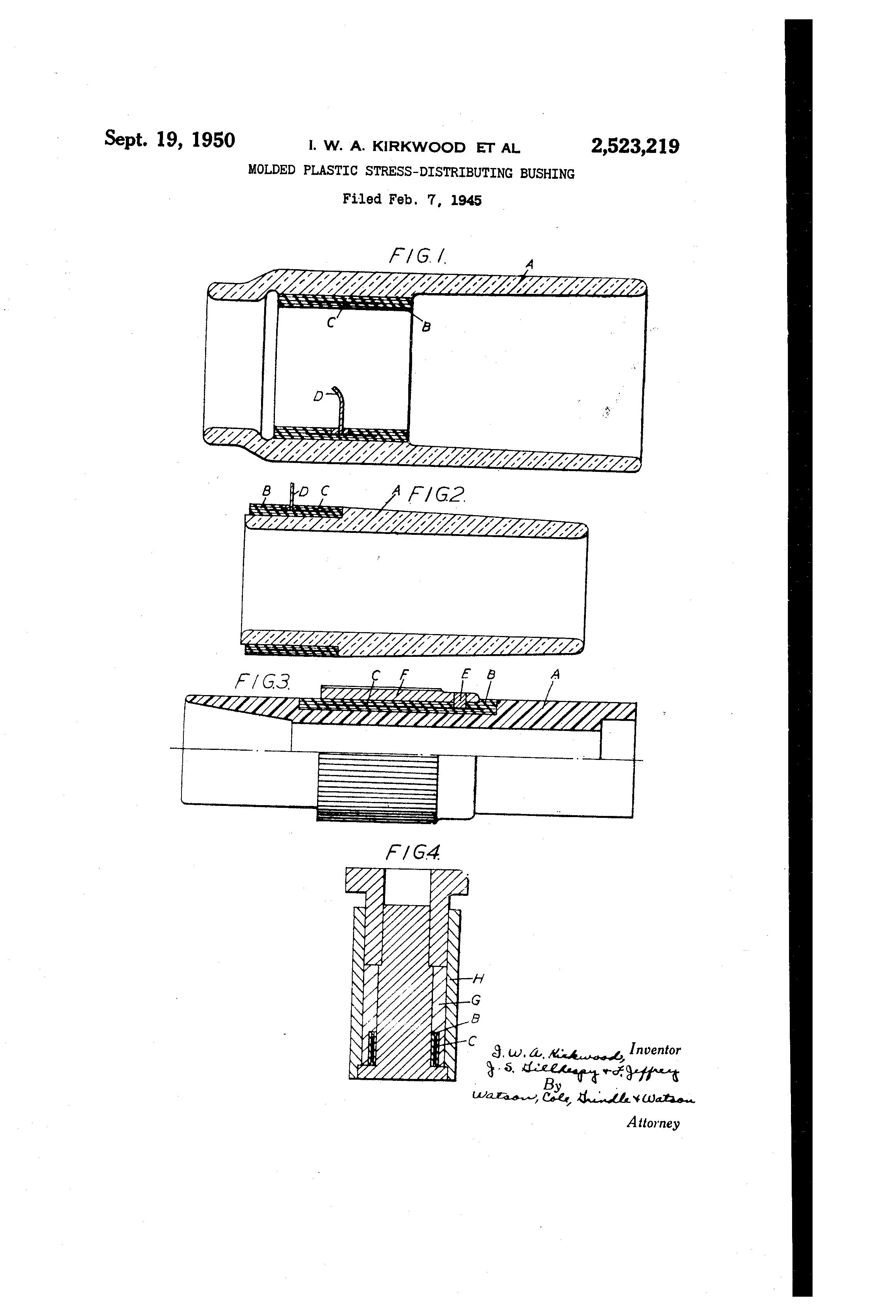 Us2523219 Molded Plastic Stress Distributing Bushing Ar Kw Patent Drawing