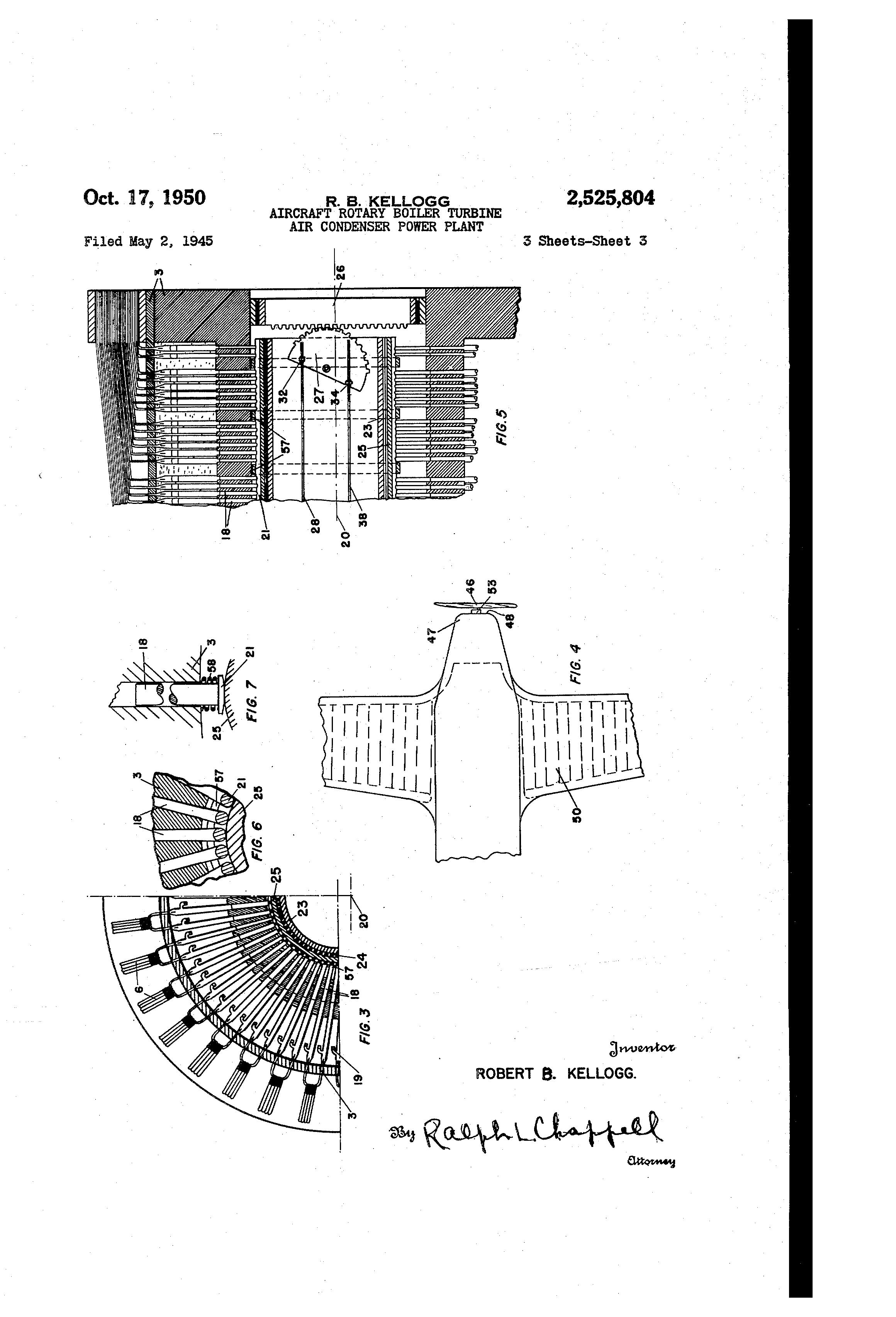Patent US Aircraft rotary boiler turbine air condenser