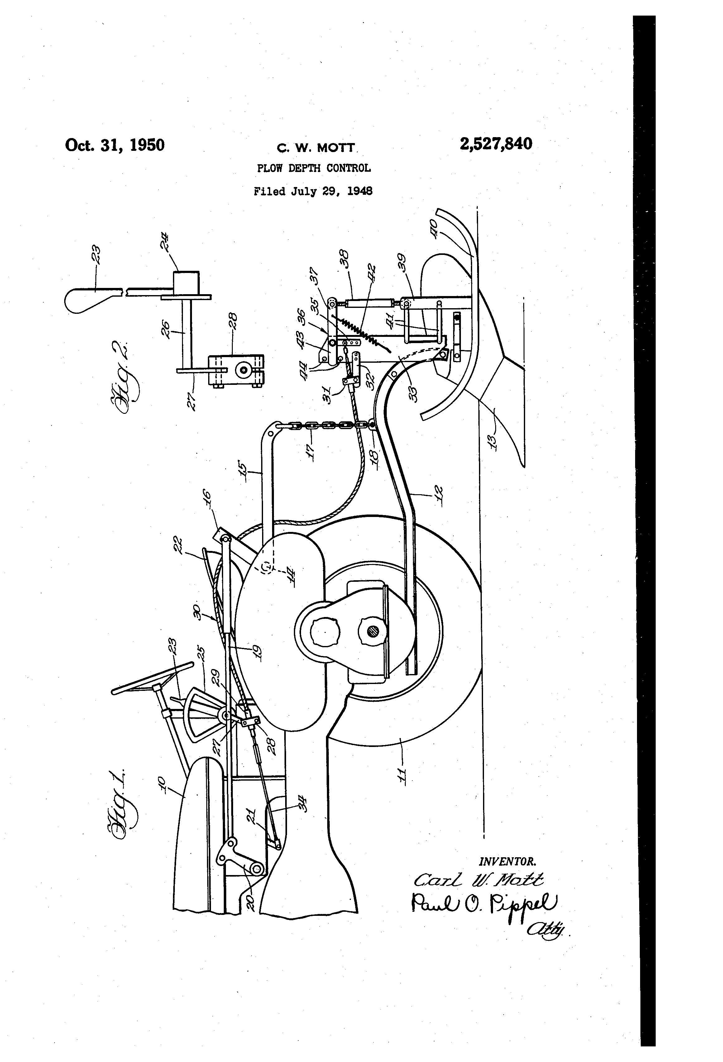 Patent US2527840 - Plow depth control - Google Patents